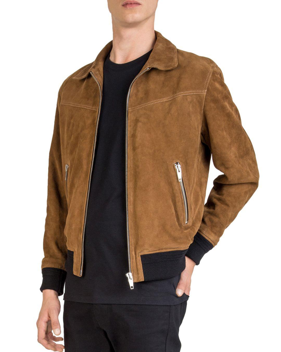 8799e7cd5a0 The Kooples Suede Leather Jacket in Brown for Men - Lyst