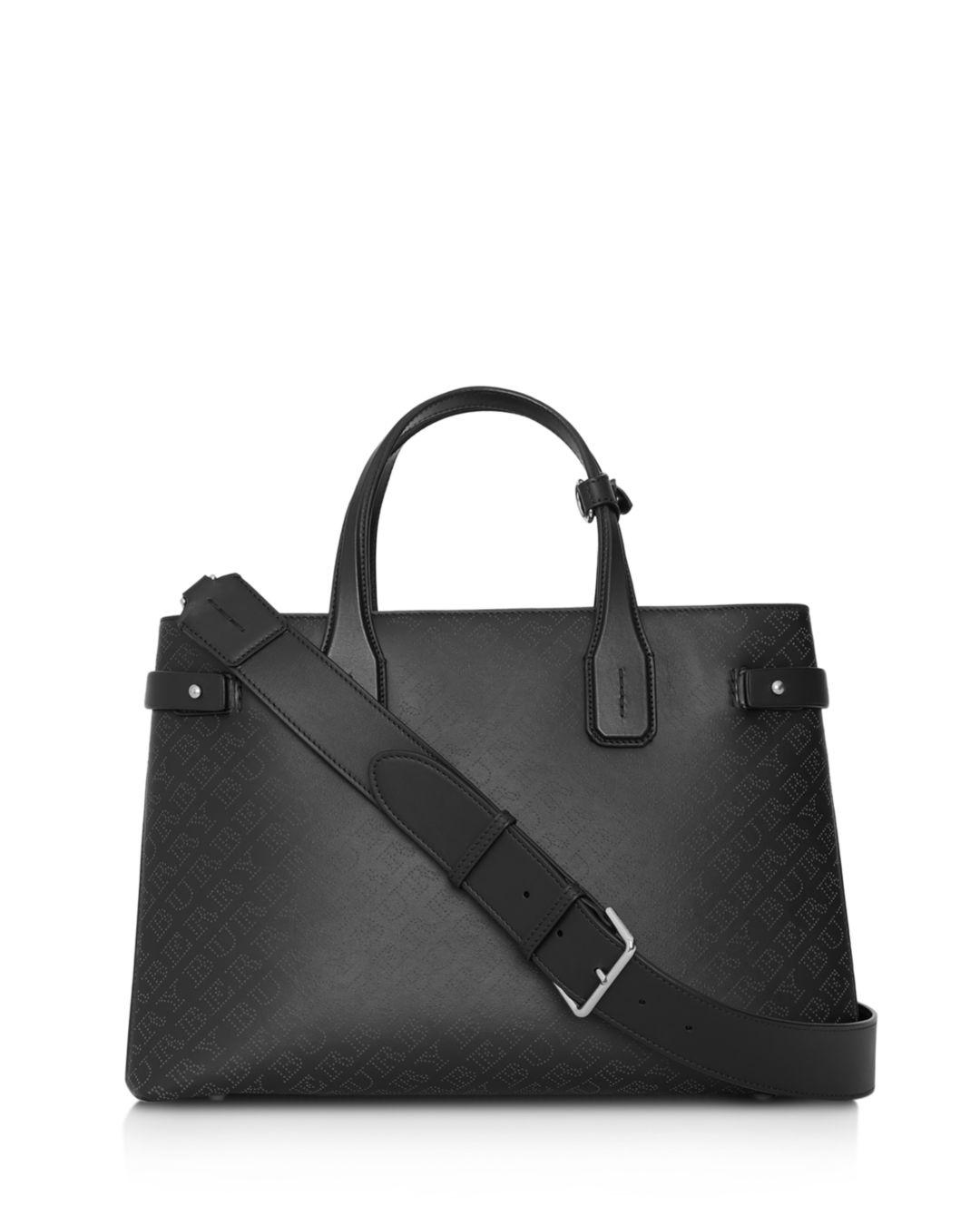 18deced5599b Lyst - Burberry The Medium Banner Perforated Leather Tote in Black