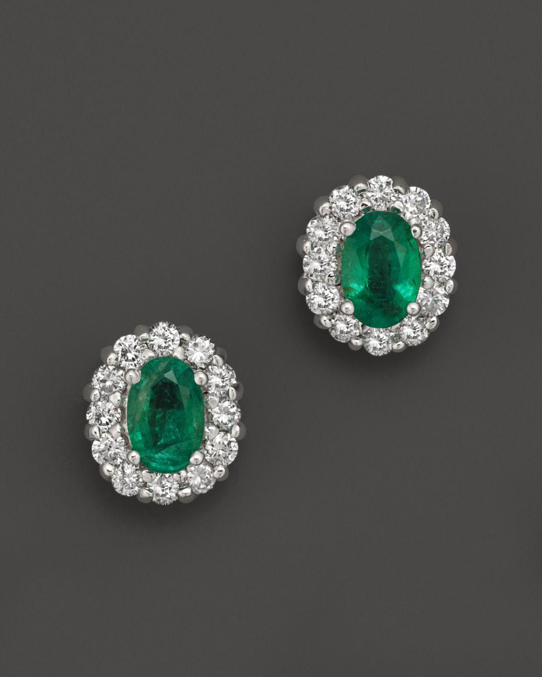 Bloomingdale S Women Metallic Emerald And Diamond Oval Stud Earrings