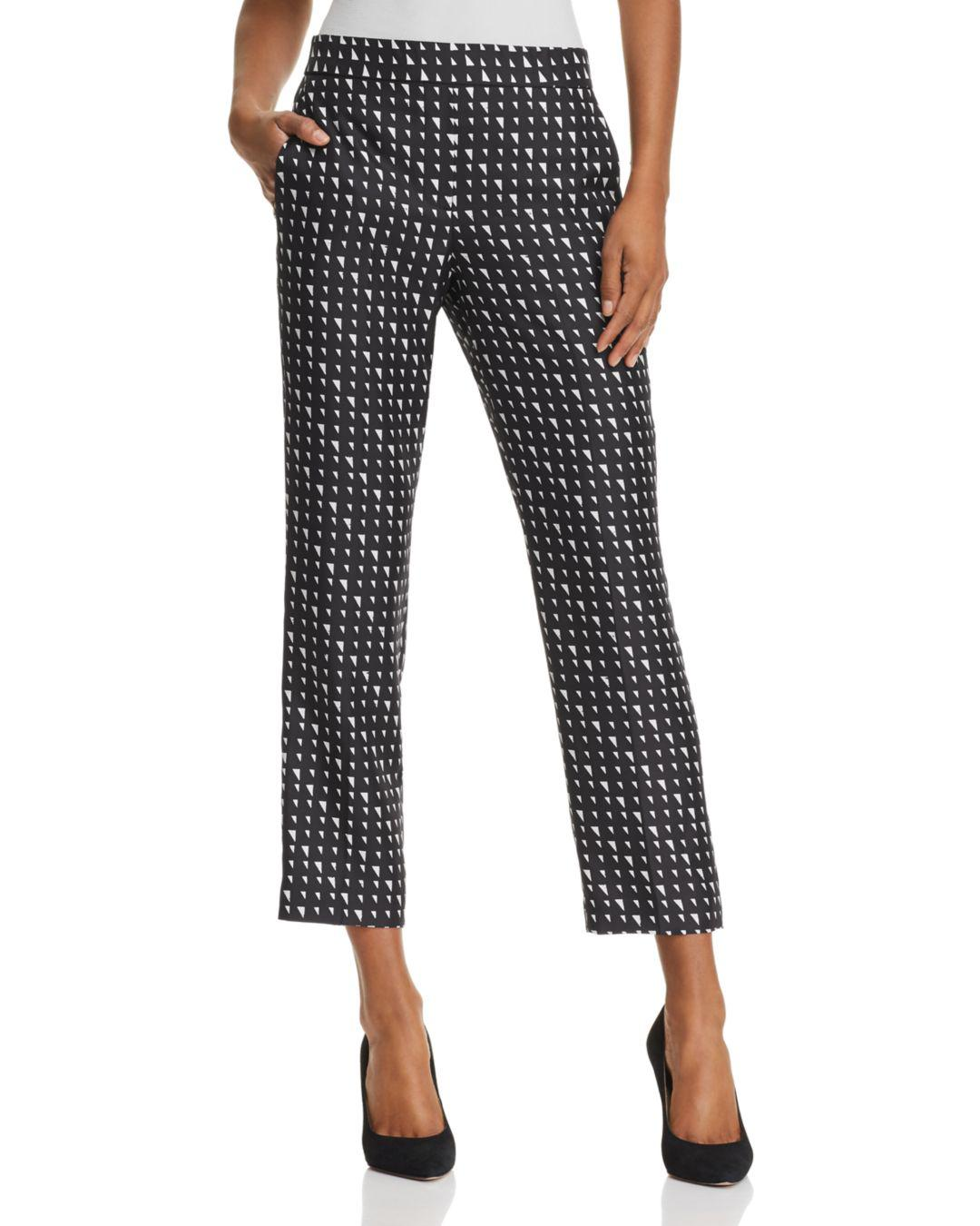 caa9df2eb2f859 Theory Printed Silk Cropped Pants in Black - Lyst