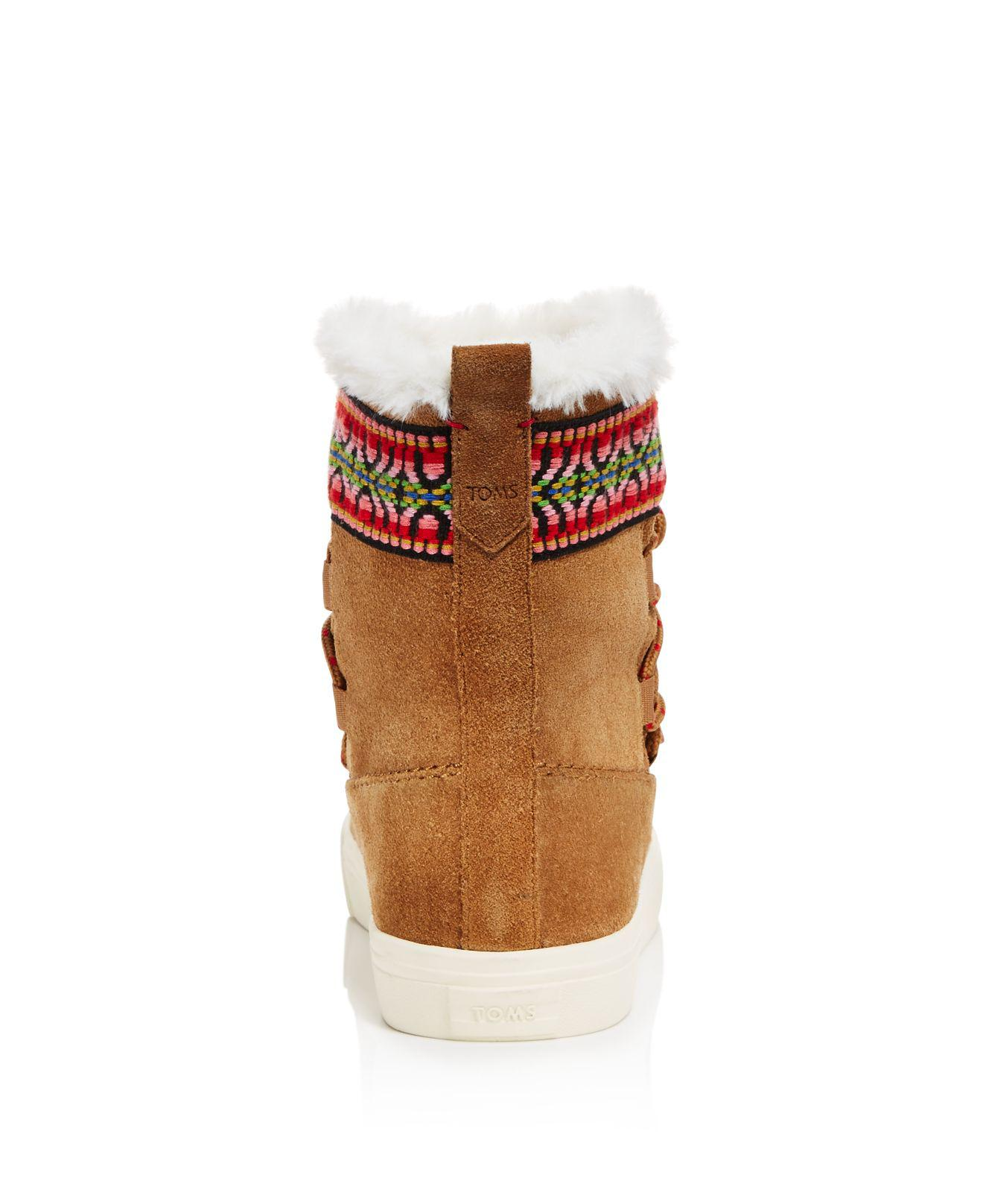 0f4f776ad33 TOMS Alpine Suede And Faux Fur Slipper Booties in Brown - Lyst