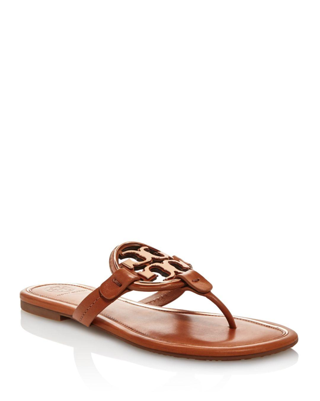 5a2216ae98e1 Tory Burch Women s Metal Miller Leather Thong Sandals - Lyst