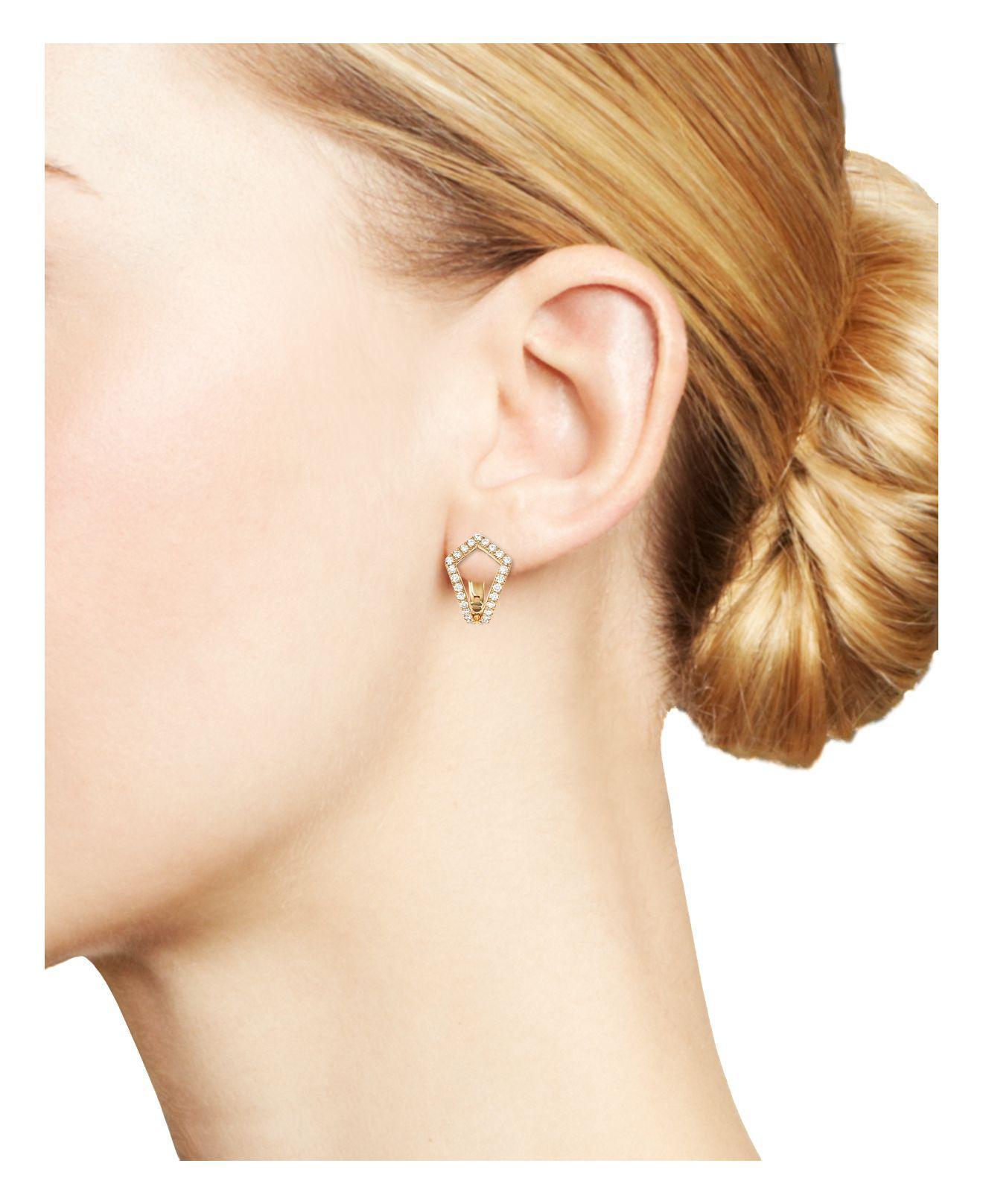 Dana rebecca Sarah Leah Diamond Huggie Earrings in Metallic