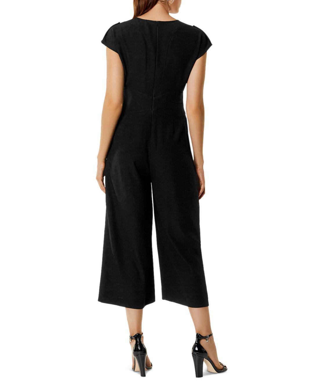 425081b73b5 Lyst - Karen Millen Corset Belt Detail Wide-leg Jumpsuit in Black