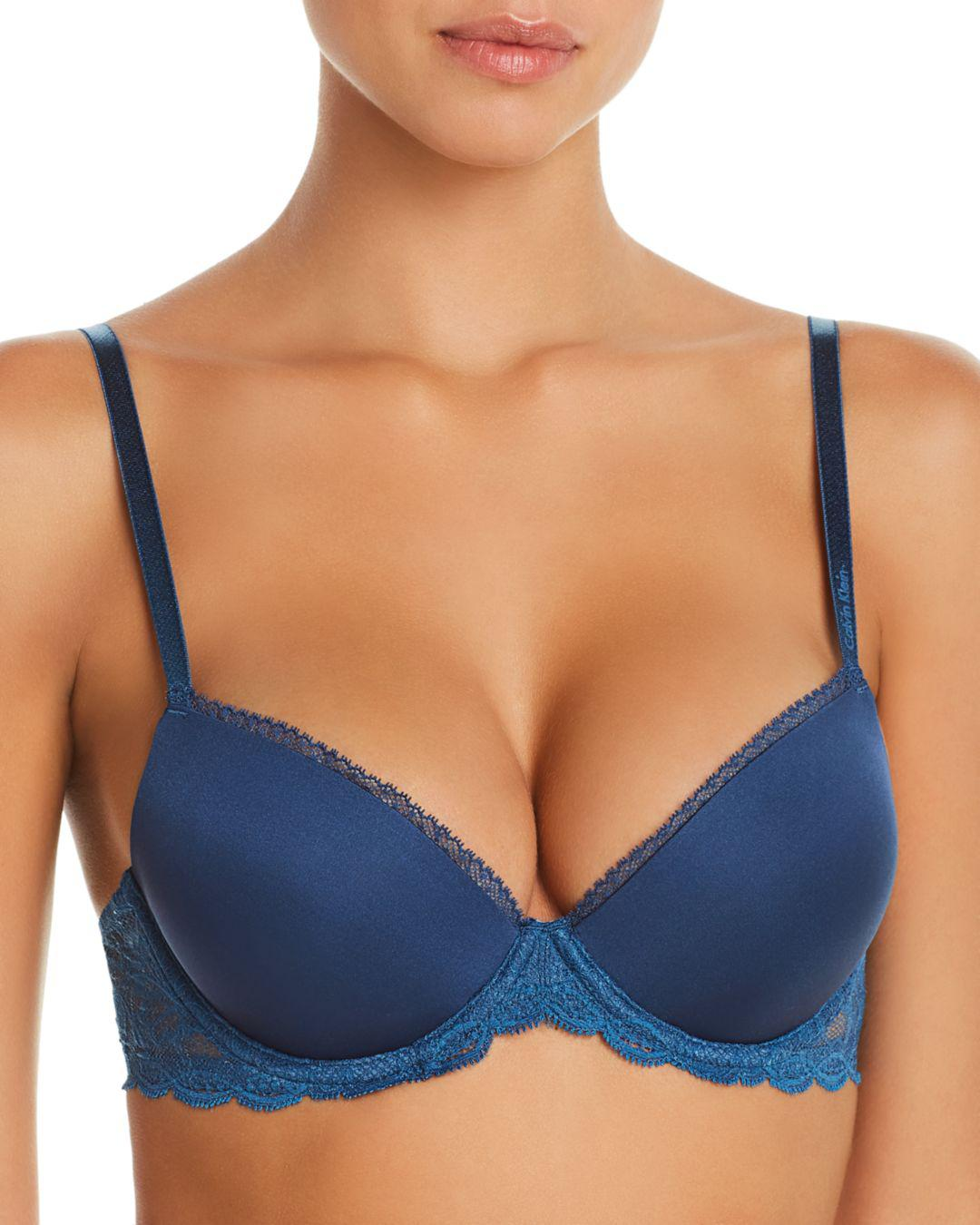 93b50d4722 Lyst - Calvin Klein Seductive Comfort Demi Lift Convertible Bra in Blue