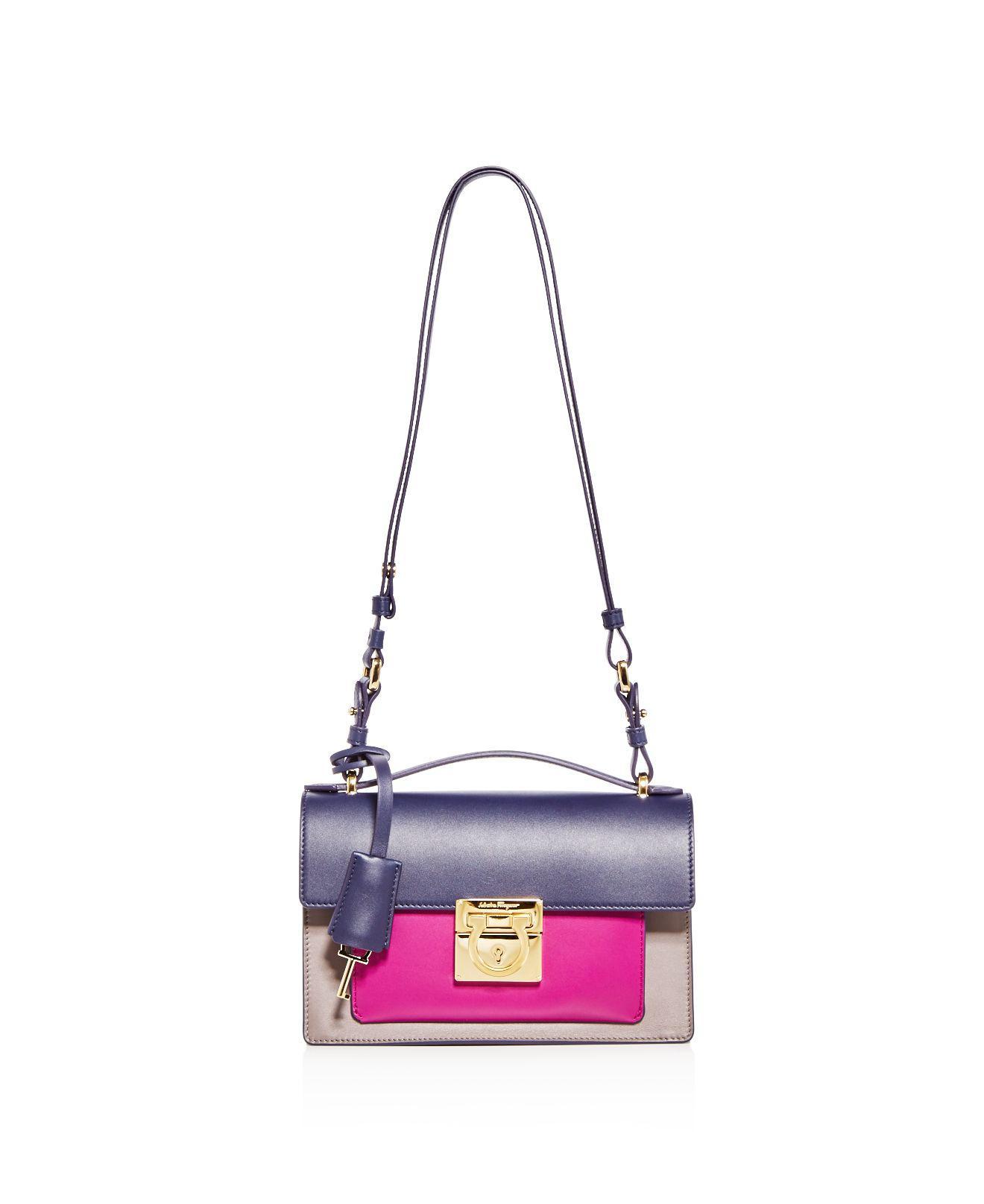 Lyst - Ferragamo Aileen Color Block Leather Shoulder Bag 8e0cb8c88d478