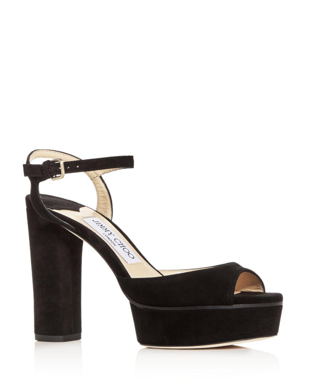 60c29af4542 Jimmy Choo Women s Peachy 105 High-heel Platform Sandals in Black - Lyst