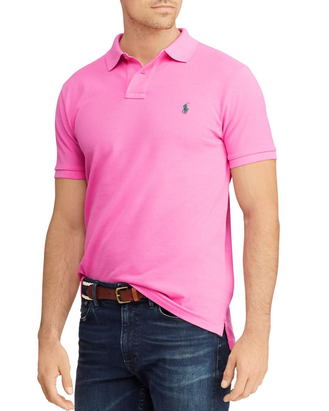 459231428 Polo Ralph Lauren. Men's Pink Custom Slim Fit Mesh Short Sleeve Polo Shirt