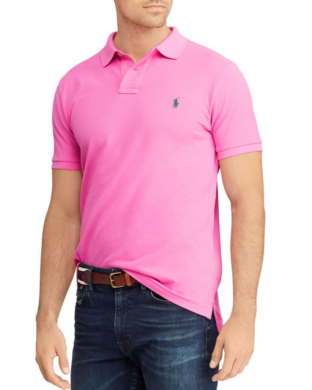0821a5ee Polo Ralph Lauren. Men's Pink Custom Slim Fit Mesh Short Sleeve Polo Shirt