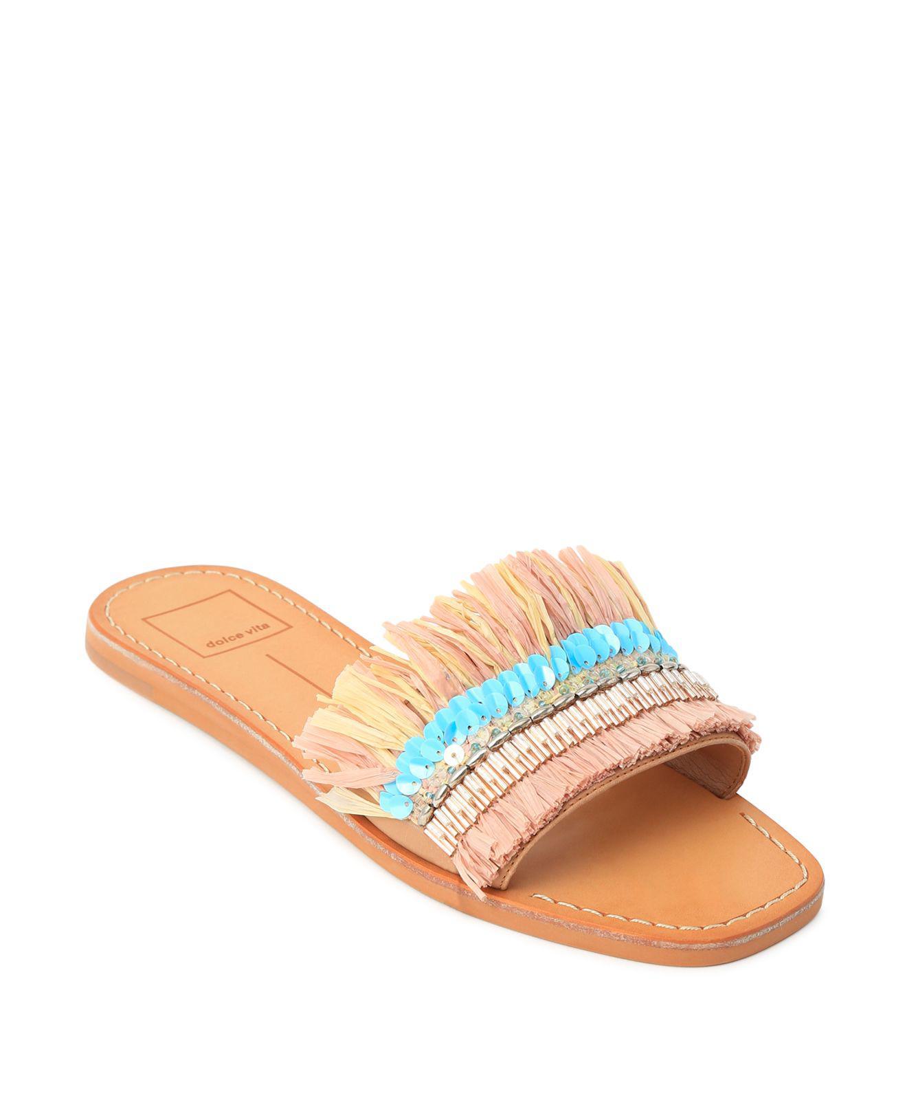 Dolce Vita Cadiz Embellished Raffia Slide Sandals F9LcAbE