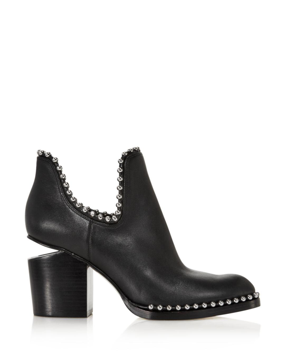 324b5f8e4807c Lyst - Alexander Wang Women s Gabi Pointed Toe Studded Leather High-heel Ankle  Boots in Black
