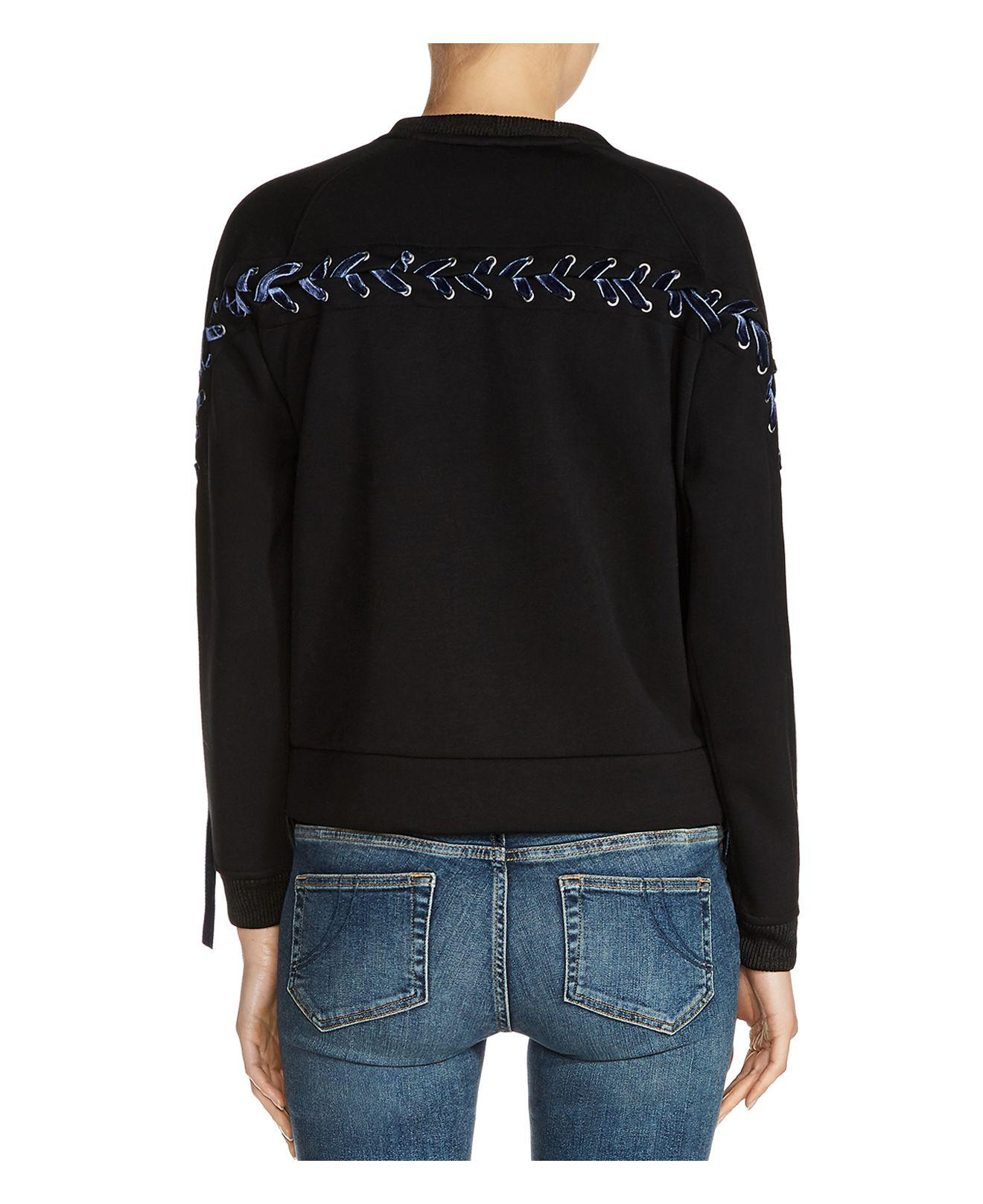daddadb643 Lyst - Maje Triangle Lace-up Detail Sweatshirt in Black