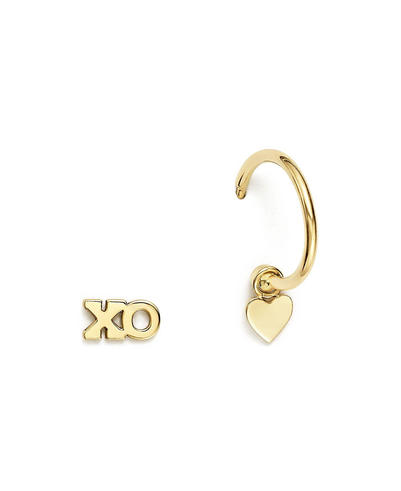 Zoe Chicco 14k Yellow Gold Itty Bitty Mixed Xo Stud And Huggie Hoop