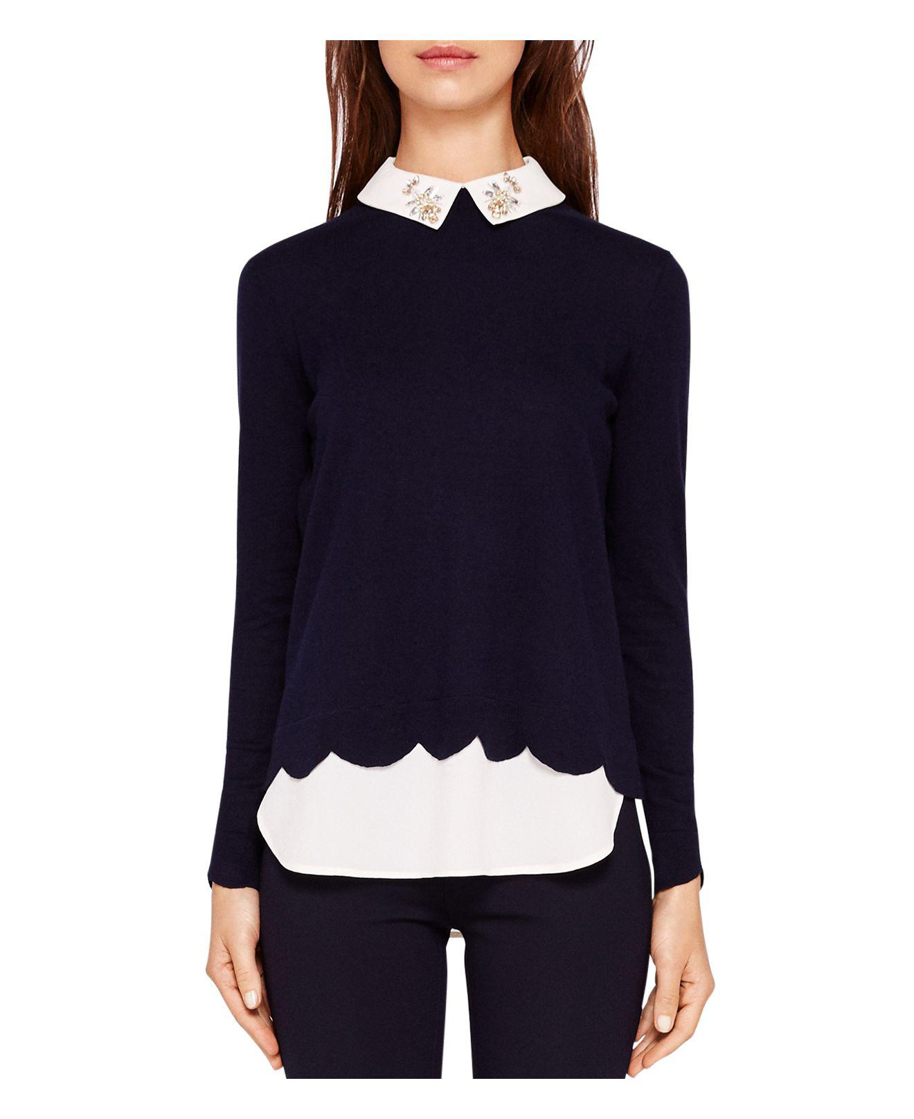 bcc92946cc4fb Lyst - Ted Baker Suzaine Layered-look Sweater in Blue
