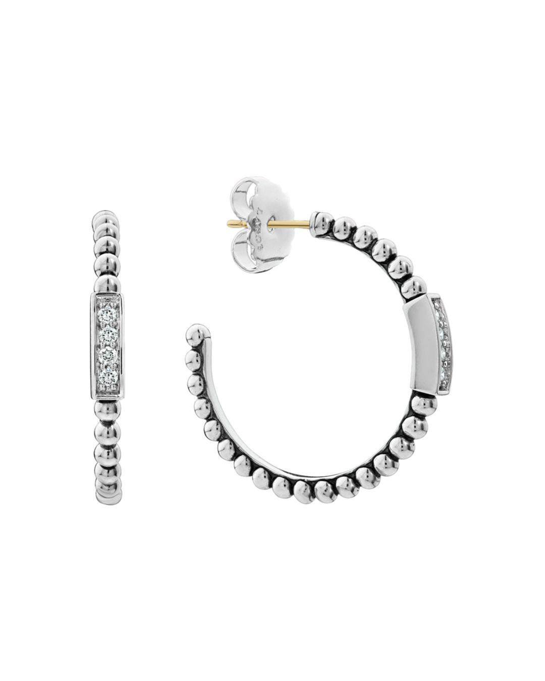 9b00dfa5d Lagos. Women's Metallic Sterling Silver Caviar Spark Diamond Hoop Earrings