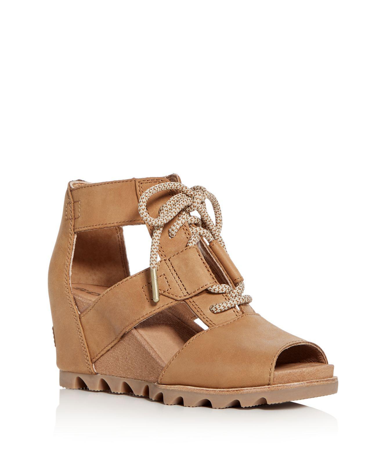 sorel Women's Joanie Nubuck Leather Platform Wedge Sandals yqSCN