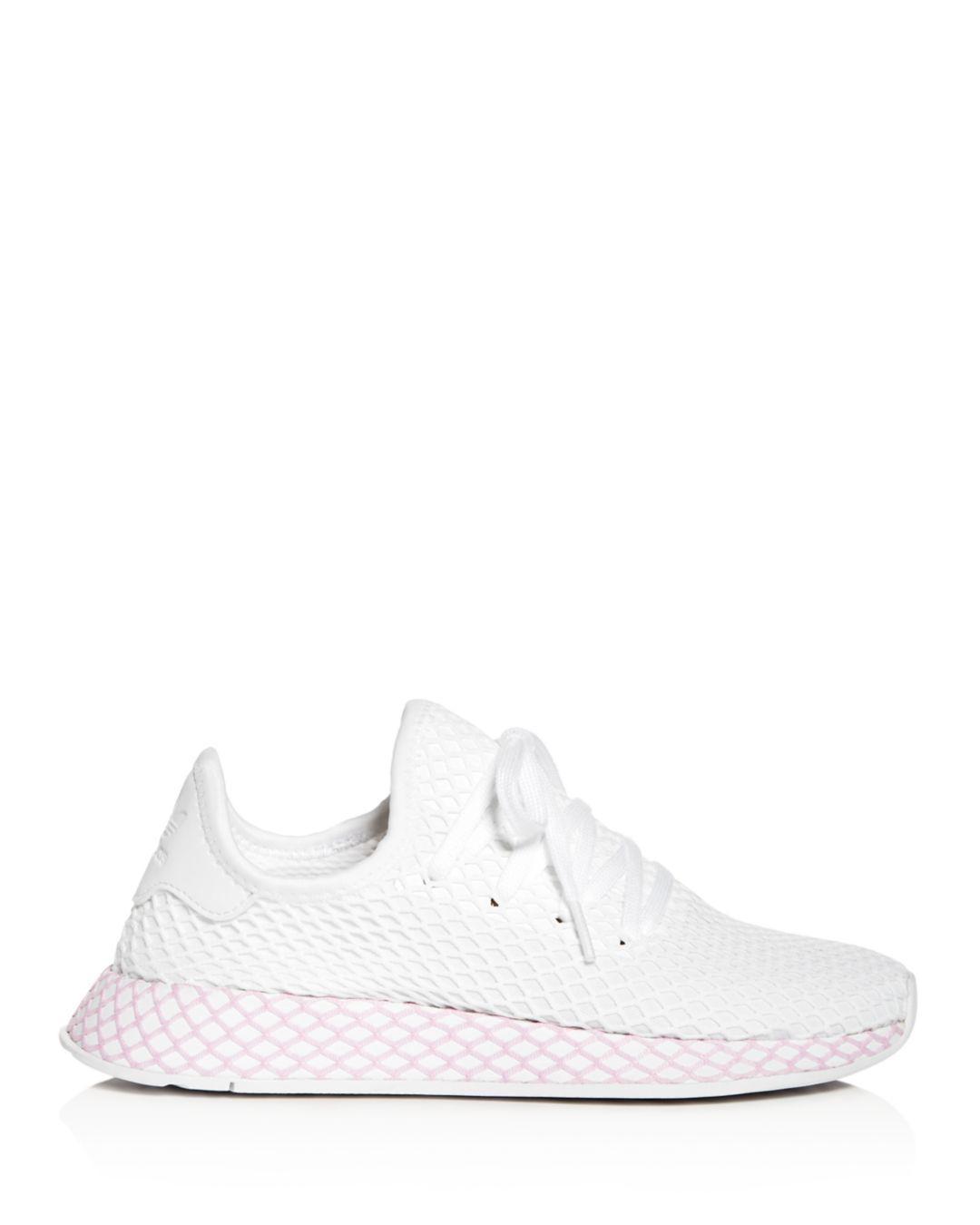 0ab751f2ea6b9 adidas Women s Deerupt Net Lace Up Sneakers in White - Save 3% - Lyst