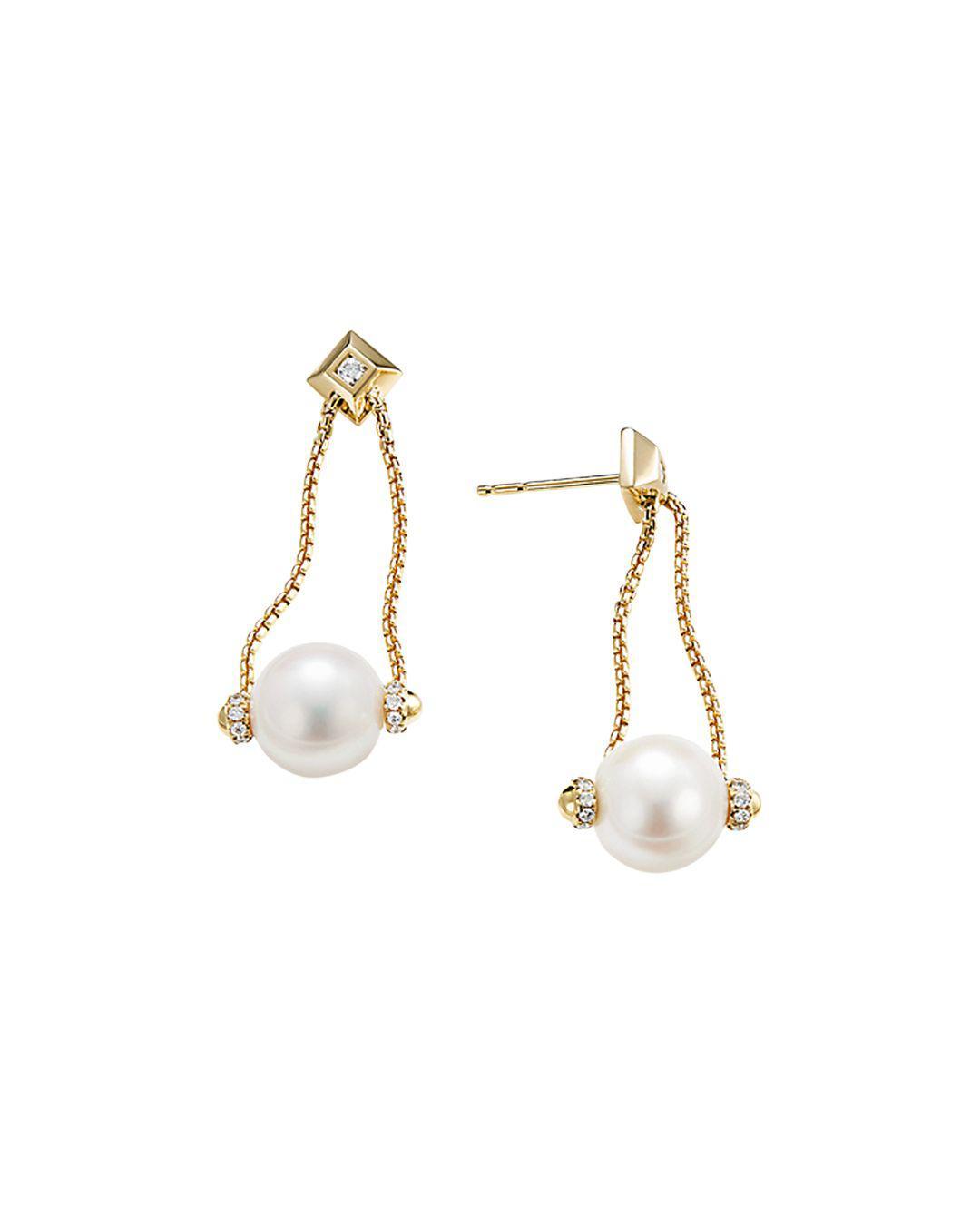 bb46decc277f2 Lyst - David Yurman Solari Pearl Drop Earring With Diamonds In 18k ...