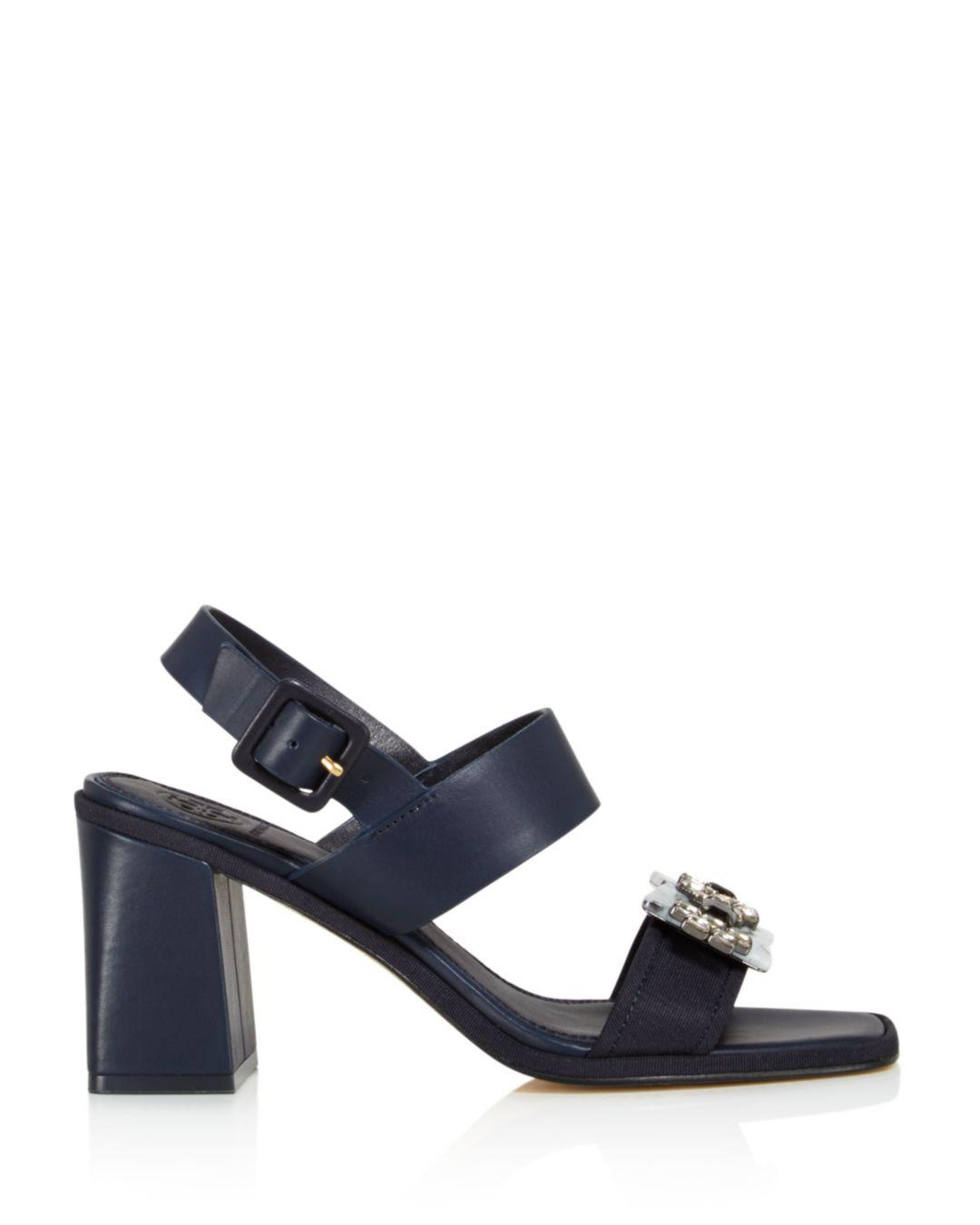 e6e4865c4ac Tory Burch Women s Delaney Embellished Leather Block Heel Sandals in Blue -  Lyst