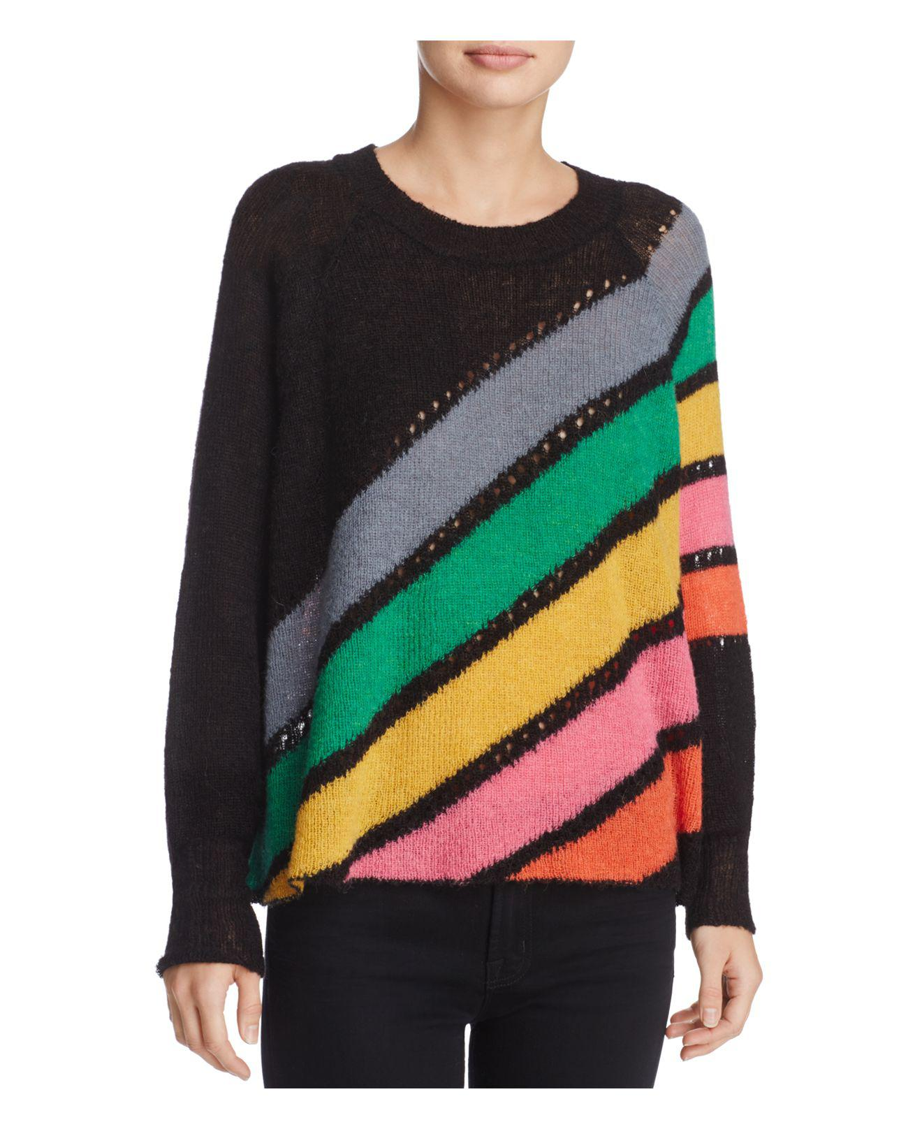 Wildfox Mirage Spell Striped Sweater in Black | Lyst