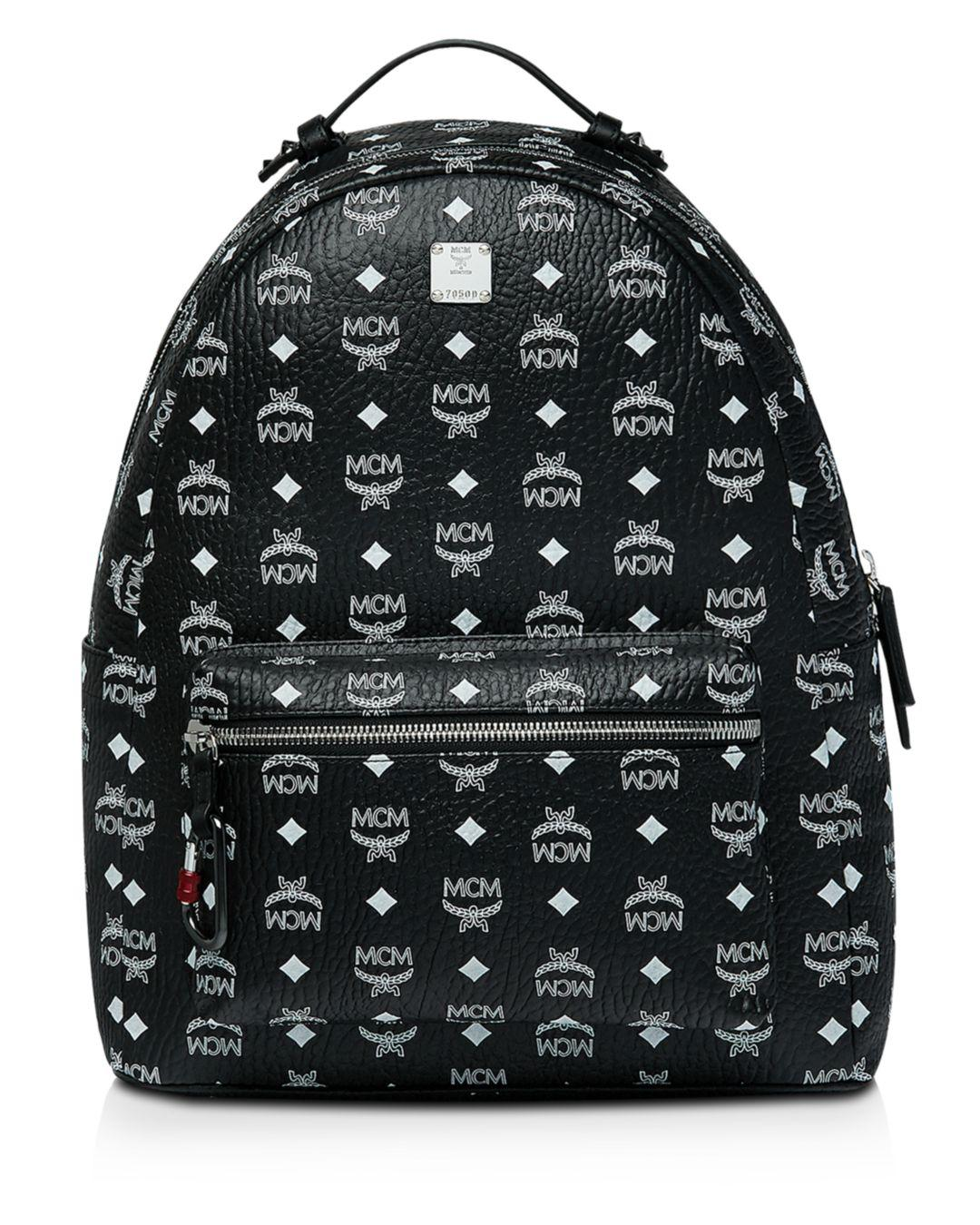 f3ceaa3c7490 MCM - Black Logo Print Backpack for Men - Lyst. View fullscreen