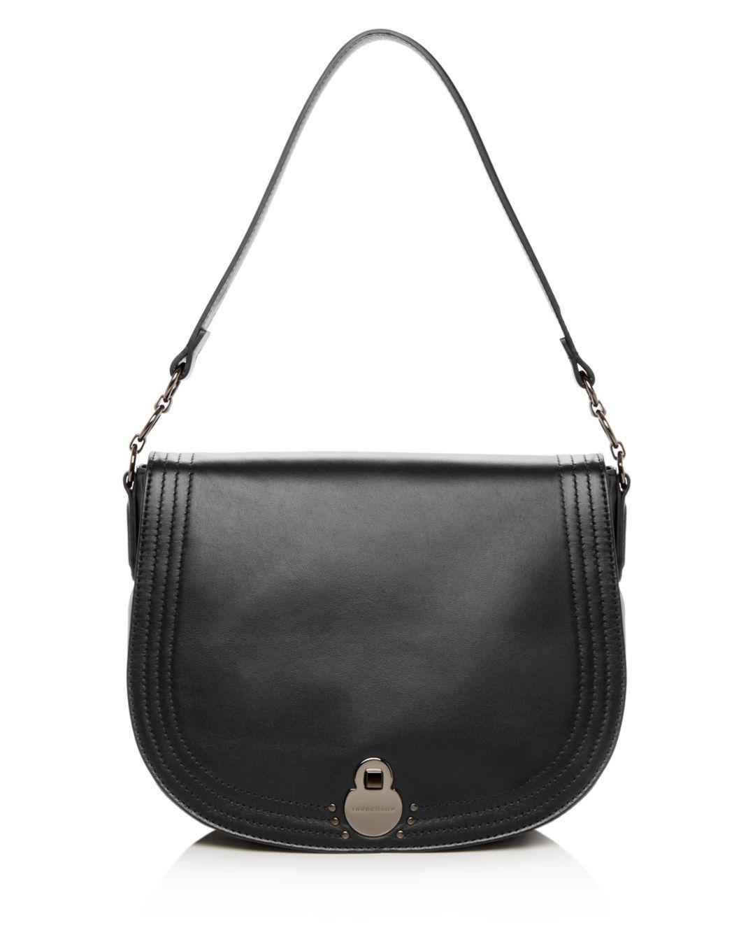 Lyst - Longchamp Cavalcade Large Leather Shoulder Bag in Black 0b5b512cd17cc