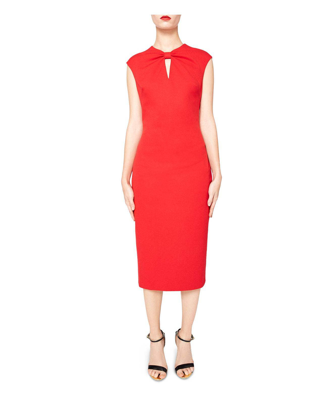 9ca17b1dbadd24 Lyst - Ted Baker Kezzia Bow-neck Dress in Red