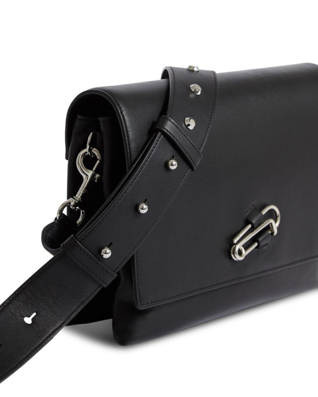 Lyst - AllSaints Nancy Large Leather Crossbody Box Bag in Black 65f1bd3cbee0f
