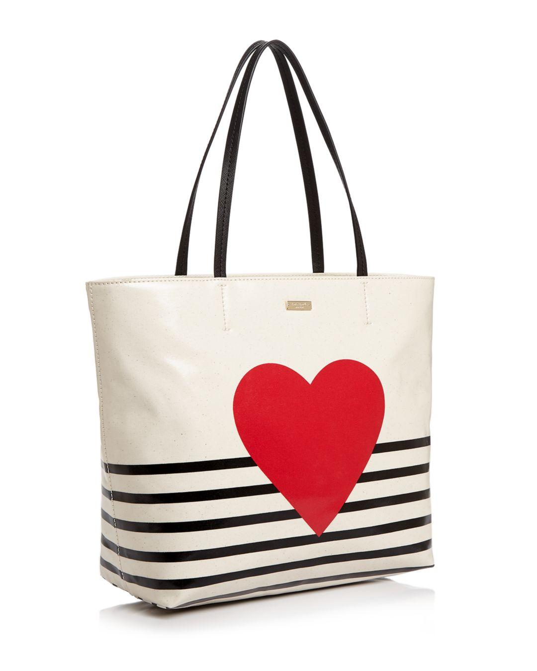 9d21322ae574 Kate Spade Yours Truly Heart Stripe Hallie Leather Tote - Lyst