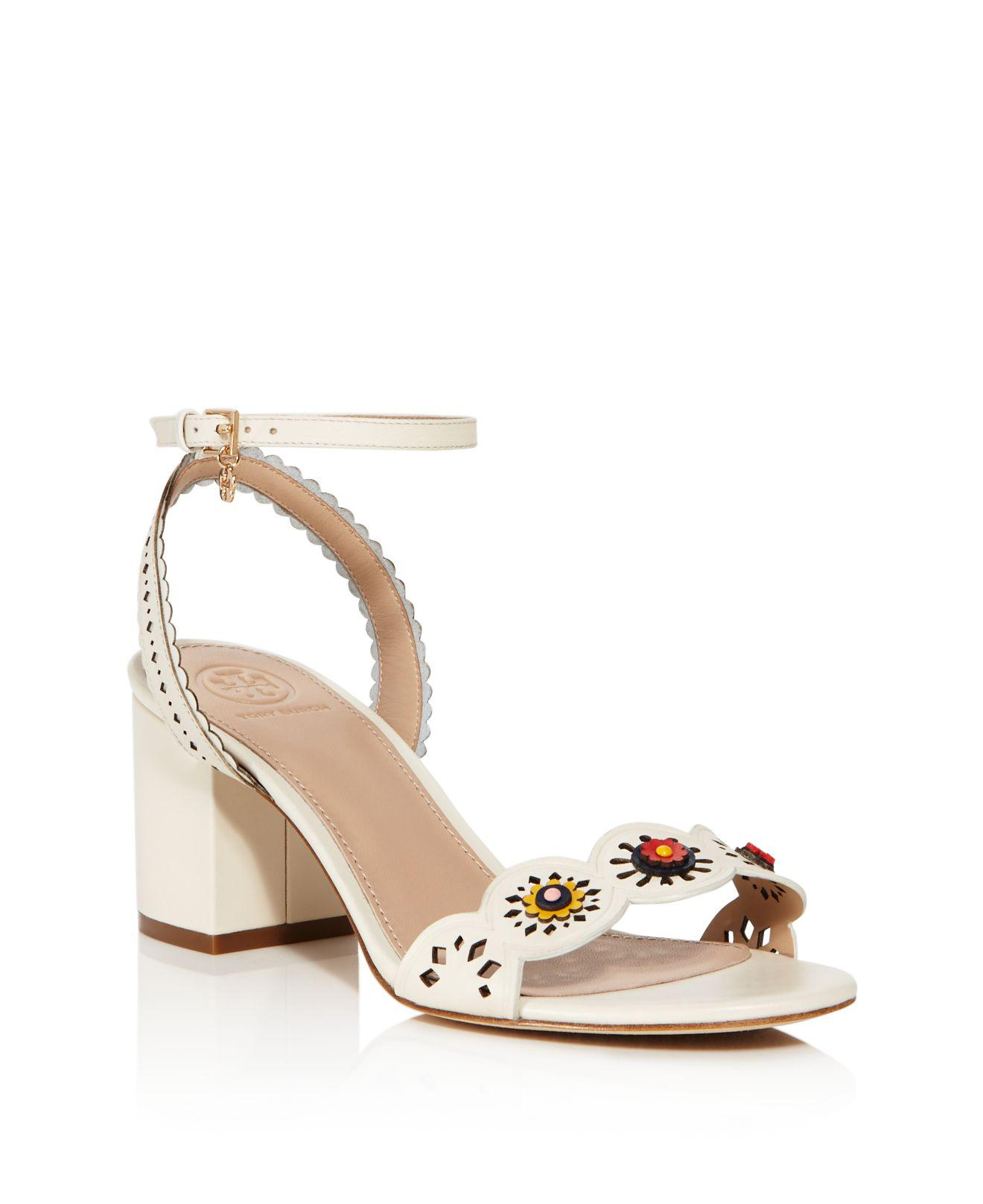34fcbe544350 Tory Burch Marguerite Perforated Sandal in White - Lyst