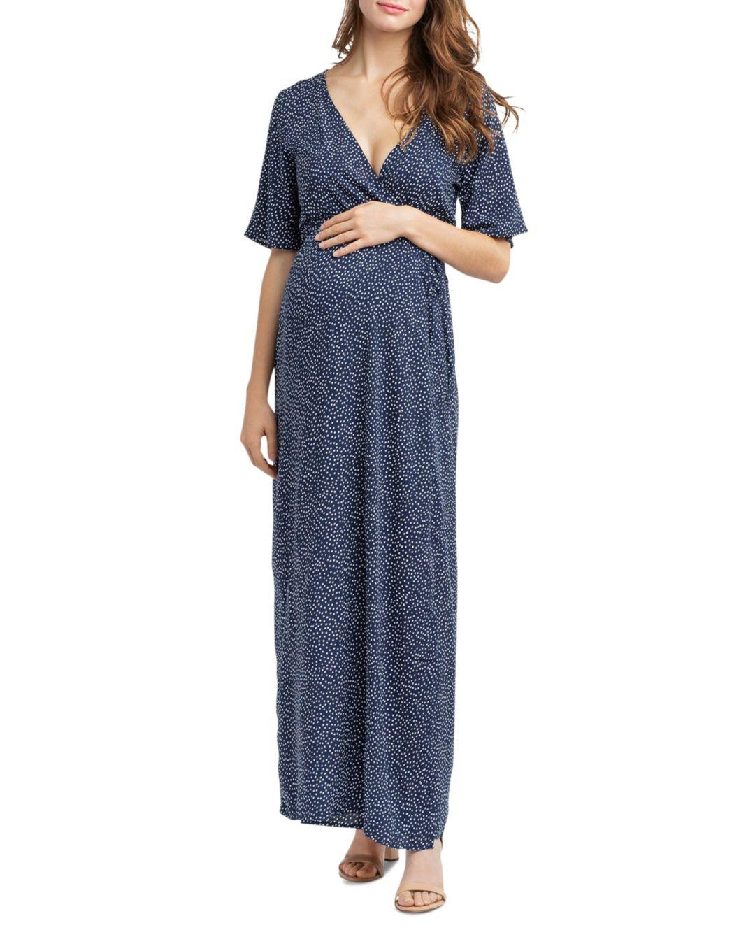 5f50c570deed1 Lyst - Nom Maternity Landon Maxi Nursing Dress in Blue