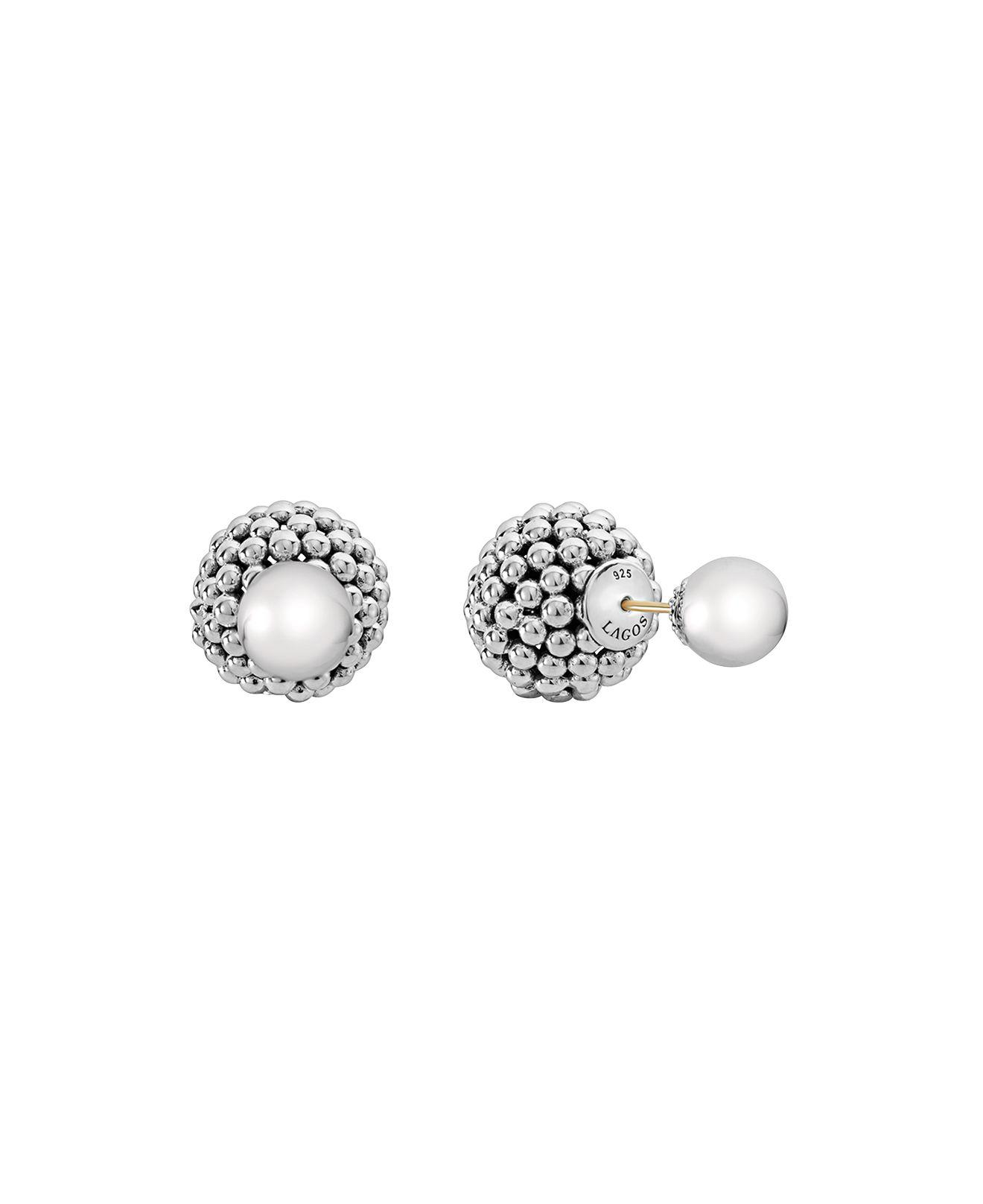 Lagos Caviar Pearl Front-Back Stud Earrings LIbvqaTW