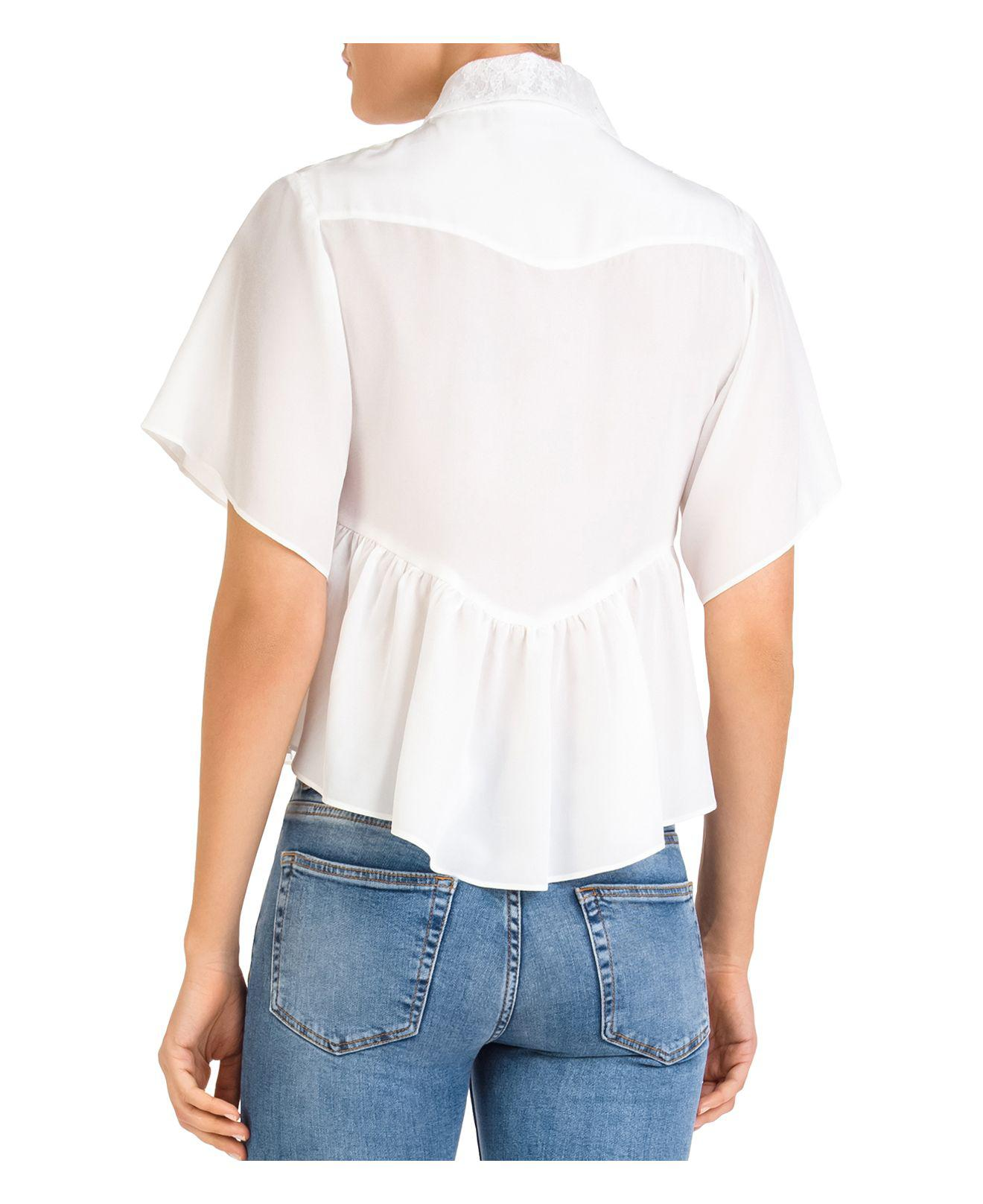 2d0dc546 Lyst - The Kooples Lace-inset Button-down Cropped Top in White