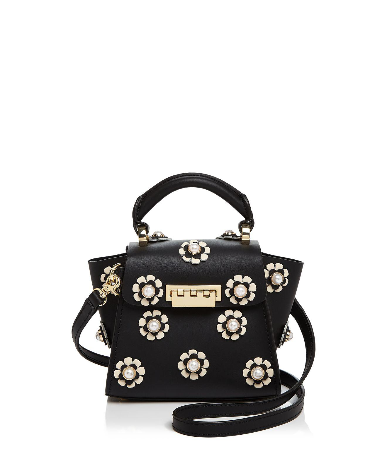 Lyst - Zac Zac Posen Eartha Iconic Faux-pearl Floral Top Handle Mini Leather Crossbody In Black