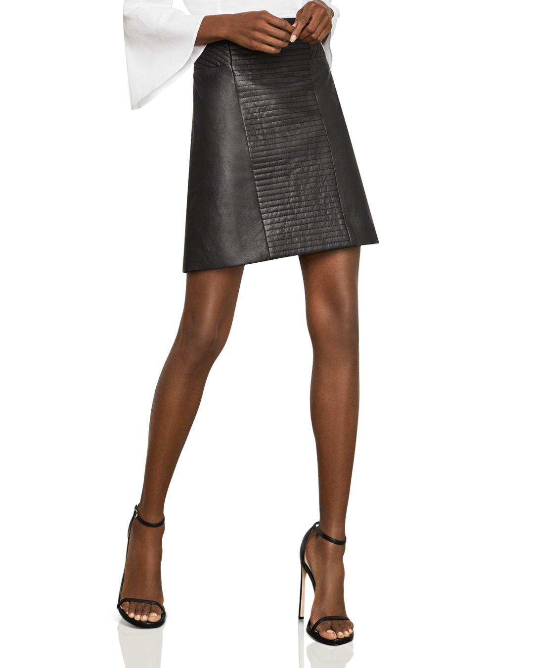 12a888f919 Bcbgmaxazria Faux-leather A-line Skirt in Black - Lyst