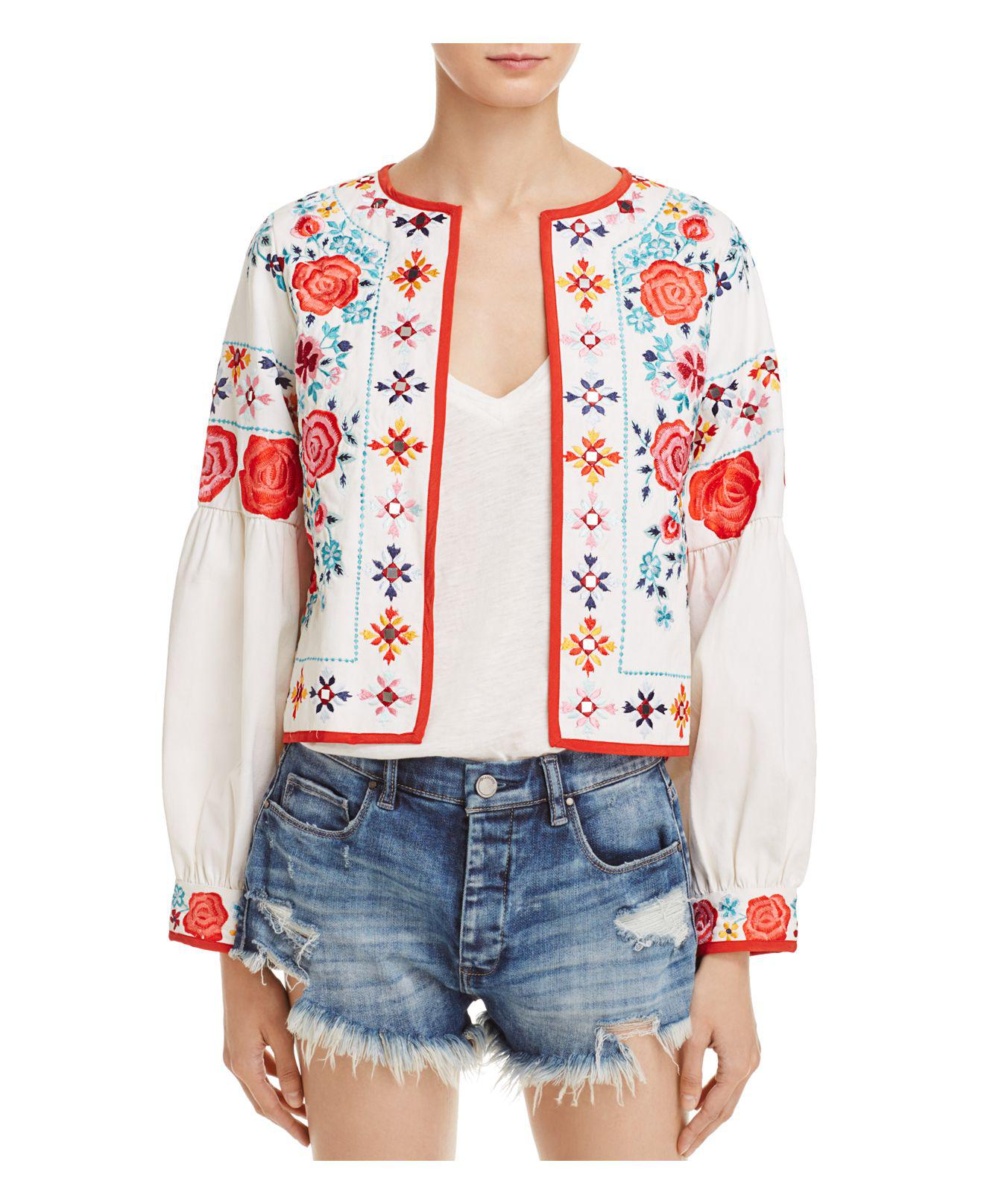 Lyst misa valentina embroidered jacket in white