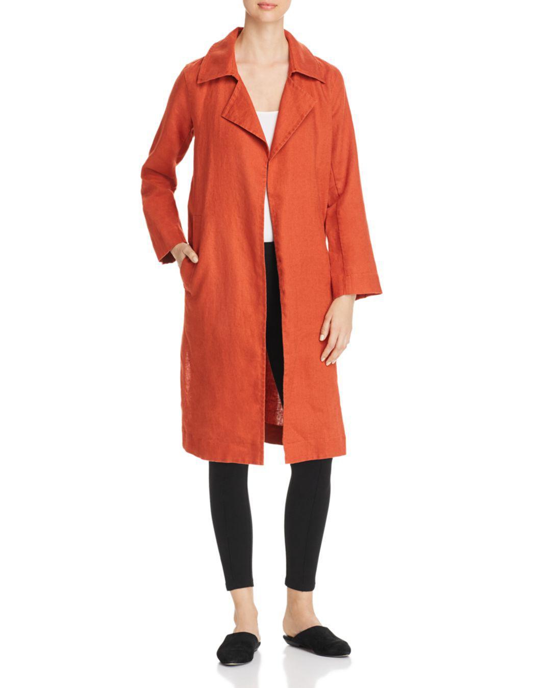 19f5b6fc071 Lyst - Eileen Fisher Organic Linen Open Trench Coat in Orange