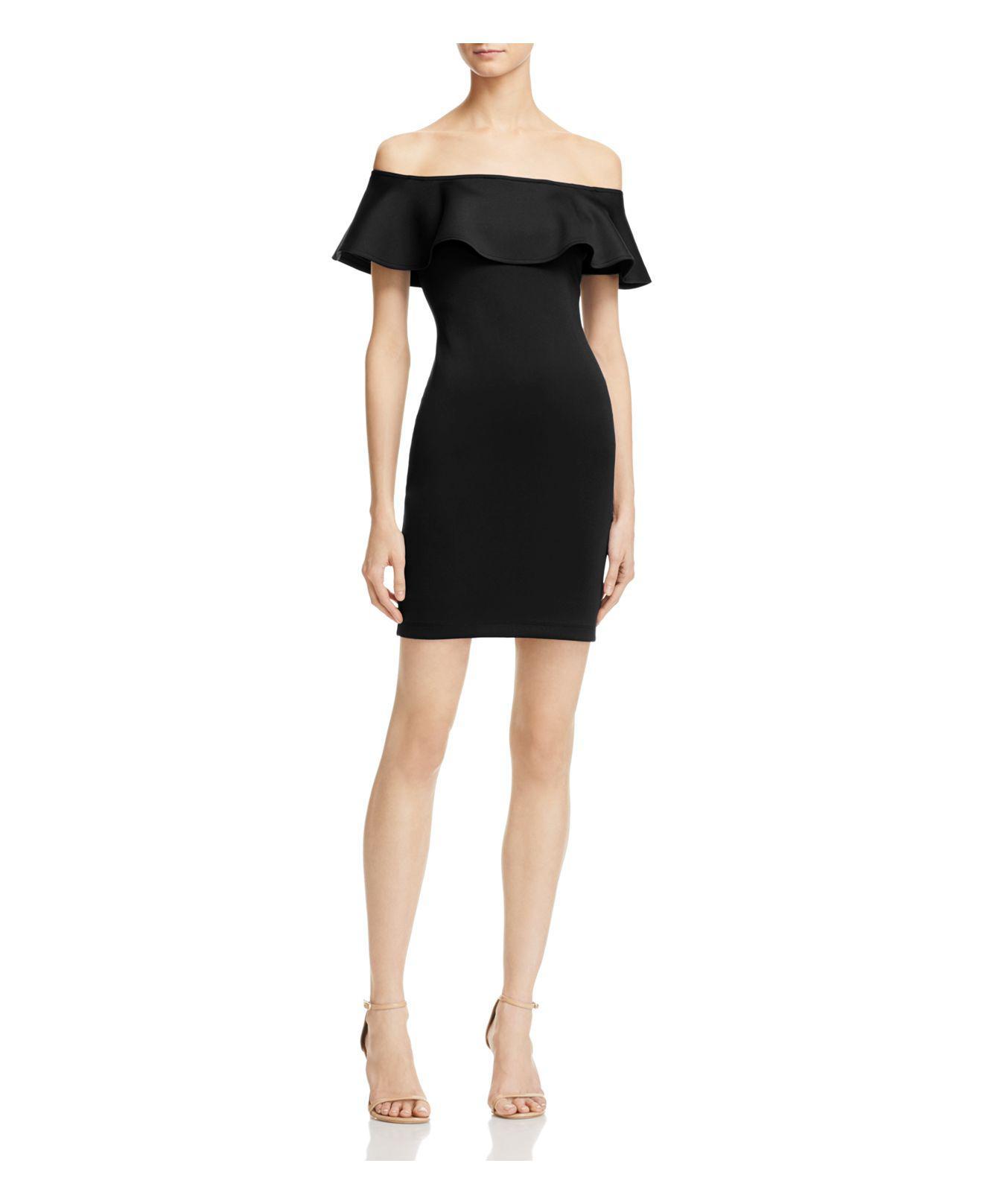 Guess Tori Off The Shoulder Ruffle Dress In Black Lyst