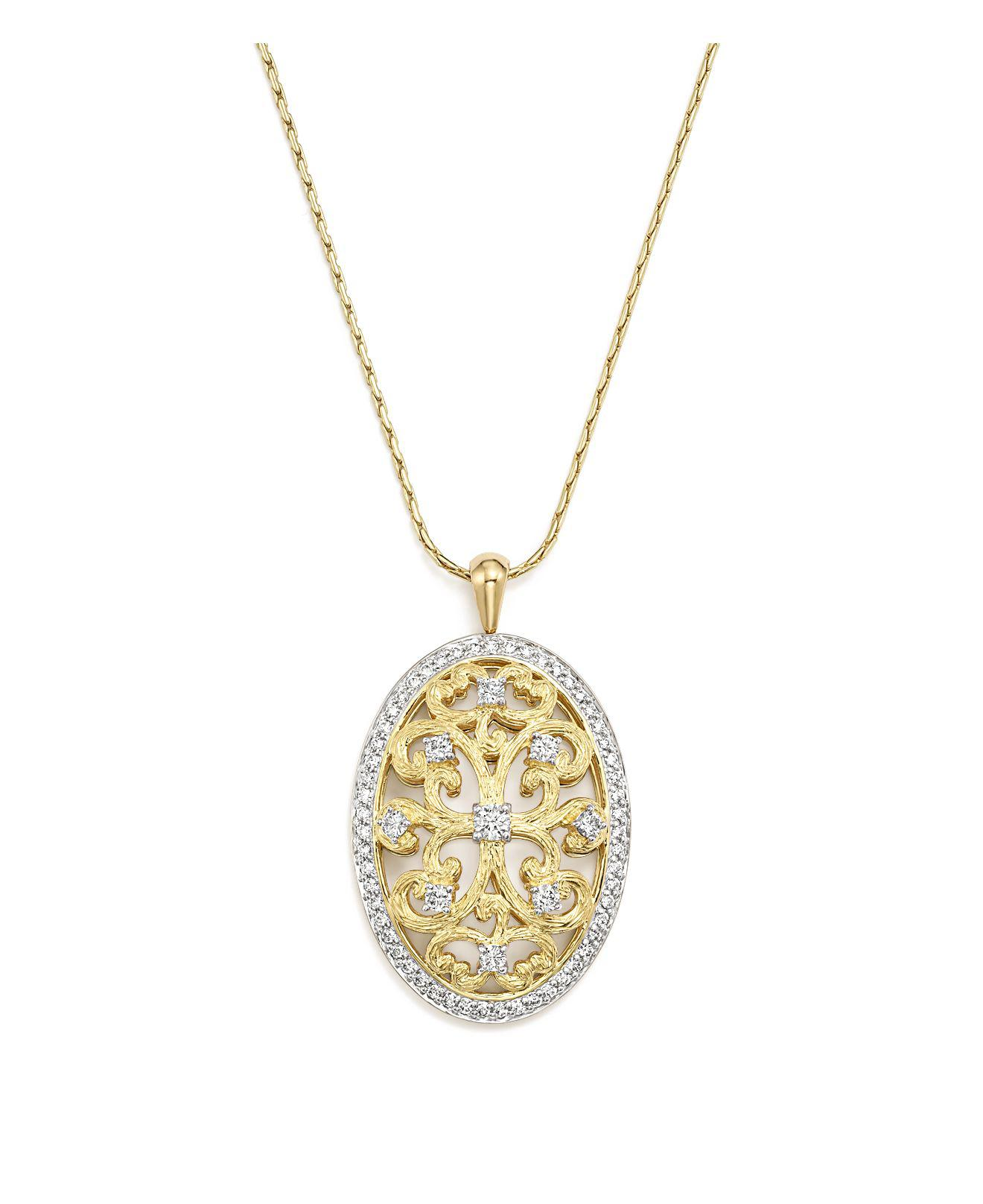 Diamoire Jewels Blue Sapphire and Diamond Bow Pendant in 18kt Yellow Gold HqjSvjr49X