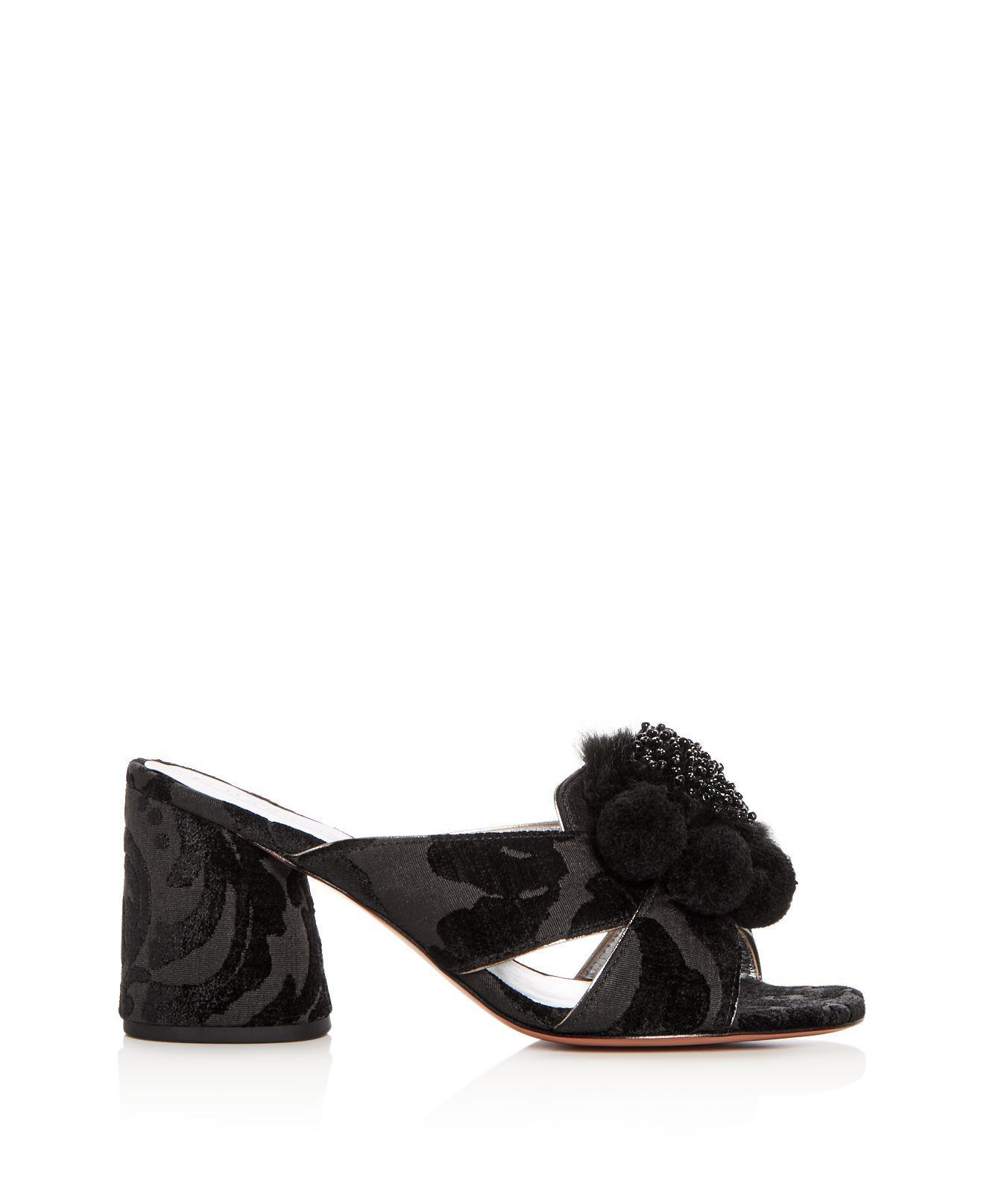 Marc Jacobs Women's Aurora Embellished Faux-Fur & Pom-Pom Block Heel Slide Sandals Fashion Style Online Sale Shop For Outlet Get Authentic mRtS5UMFFt