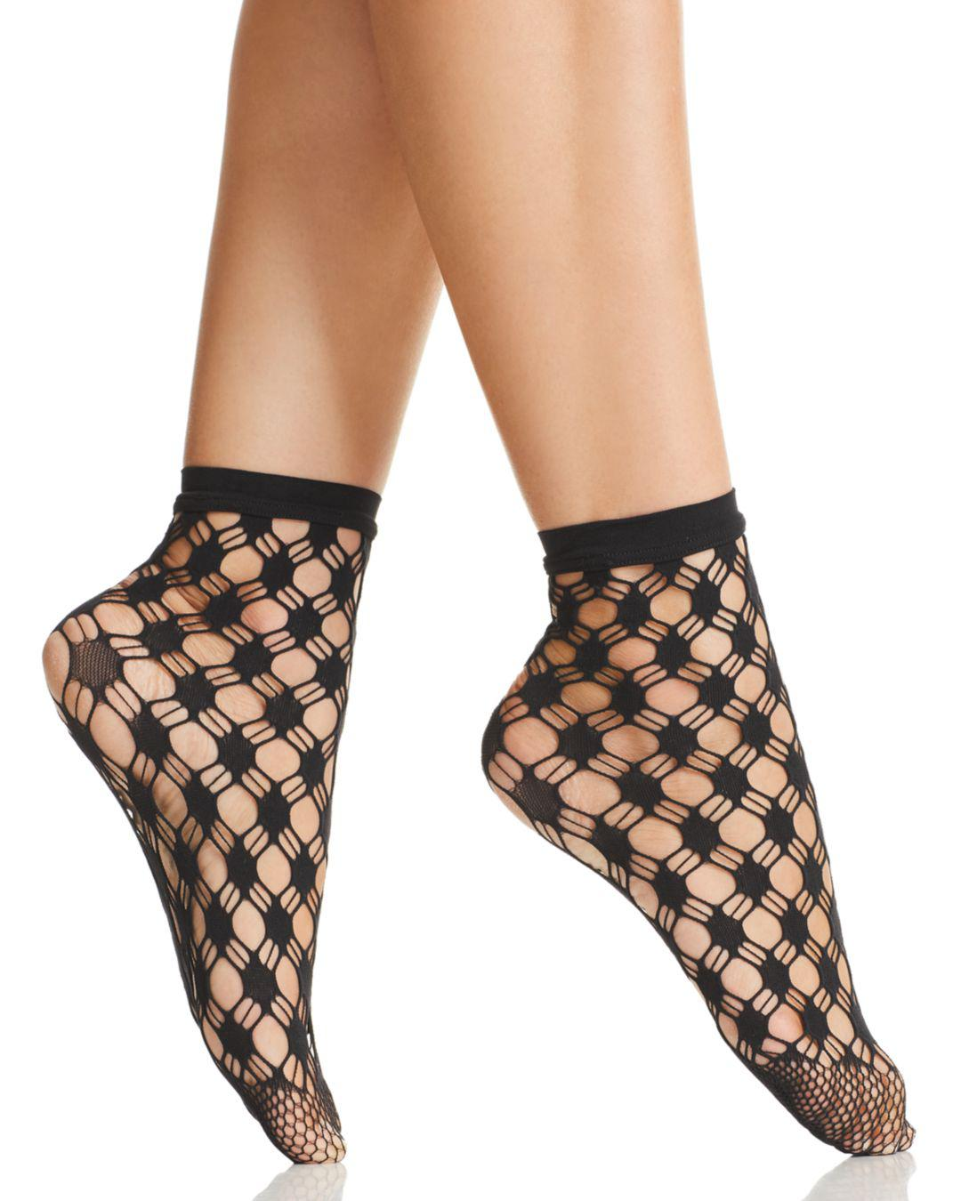 6e8f73b377a Wolford Athina Geo-net Ankle Socks in Black - Save 47% - Lyst