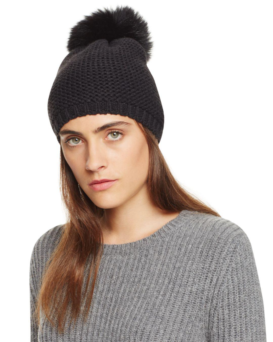 Kyi Kyi Slouchy Hat With Fox Fur Pom-pom in Black - Lyst bff1b0cdb9a5