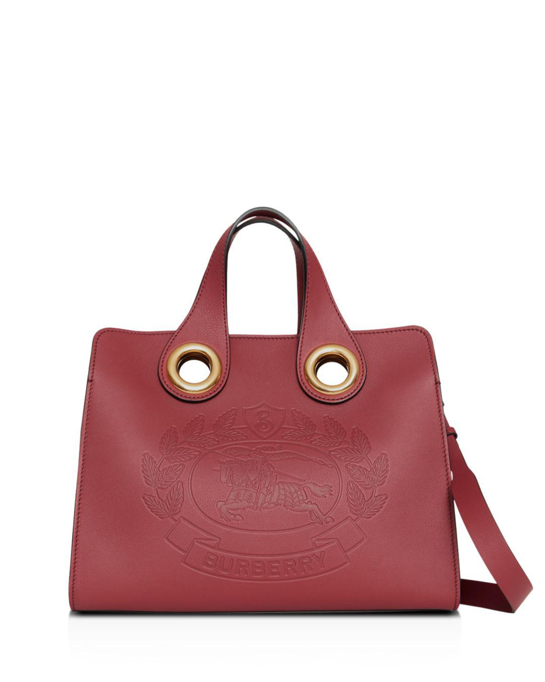 4953fb27a4a Lyst - Burberry The Leather Crest Grommet Detail Tote in Red