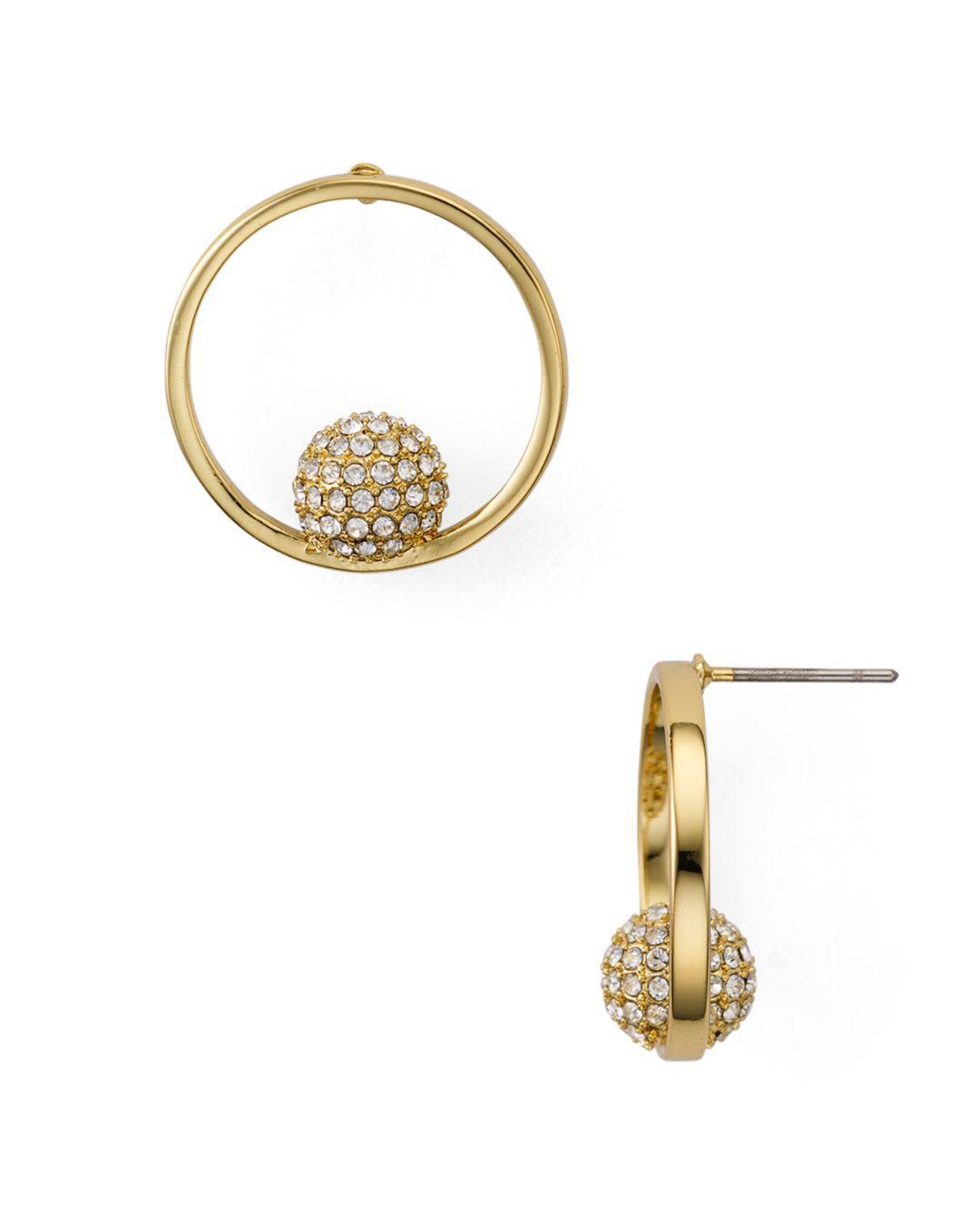 8dab4160929c1 Rebecca Minkoff Pavé Sphere Frontal Hoop Earrings in Metallic - Lyst