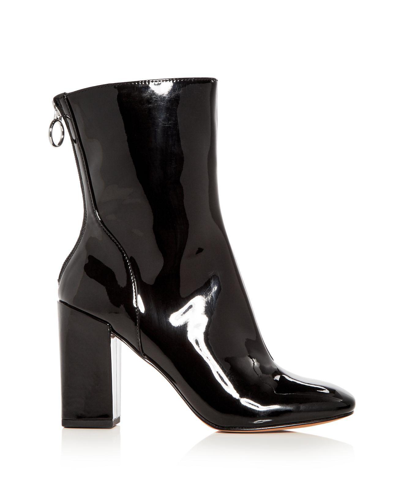 AVEC LES FILLES Women's Raina Patent Leather High Block Heel Booties Cheap Shop Sale 2018 Unisex P0kwLNasEx