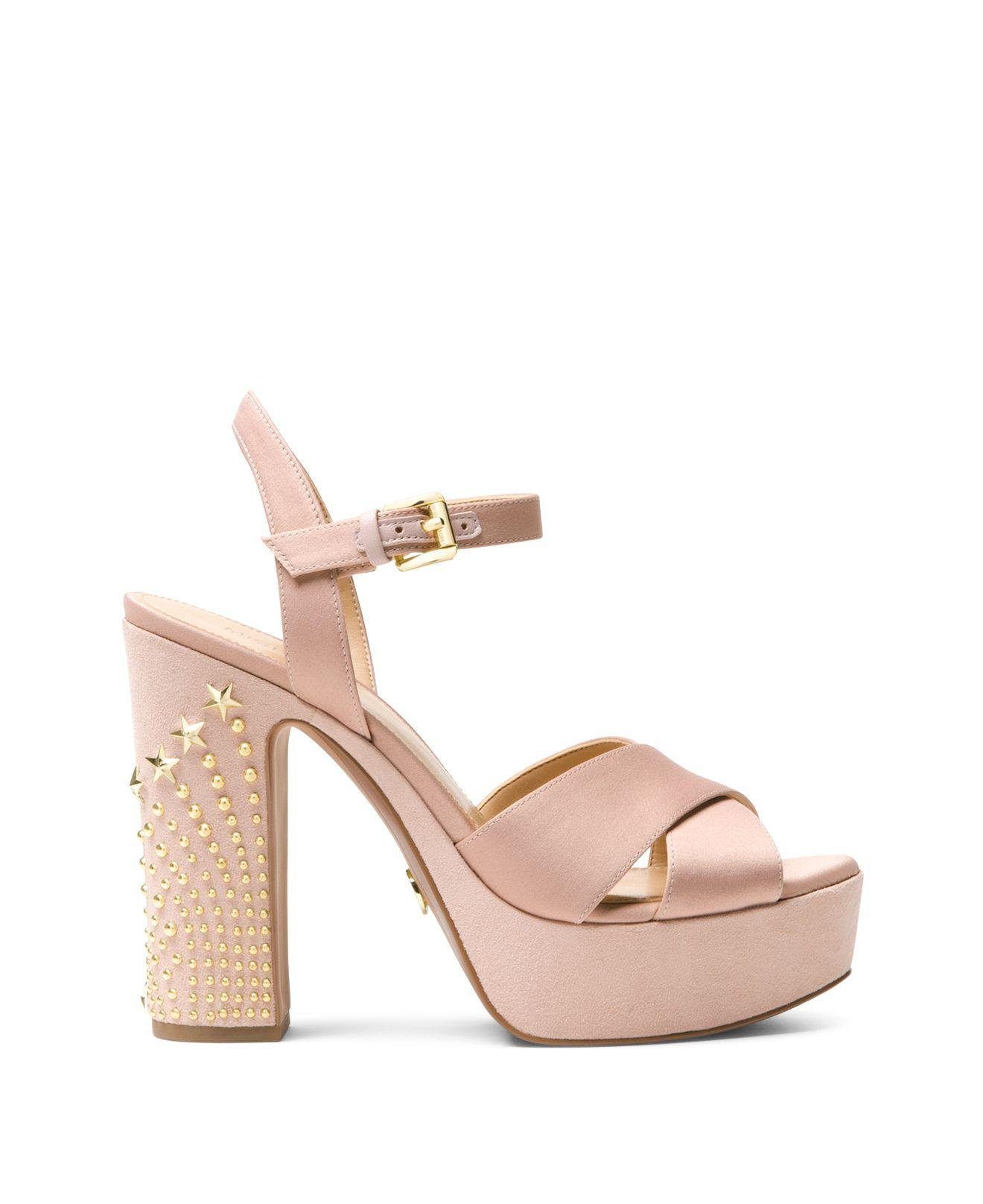 fe67064be71 Lyst - MICHAEL Michael Kors Women s Sia Studded Suede   Satin ...
