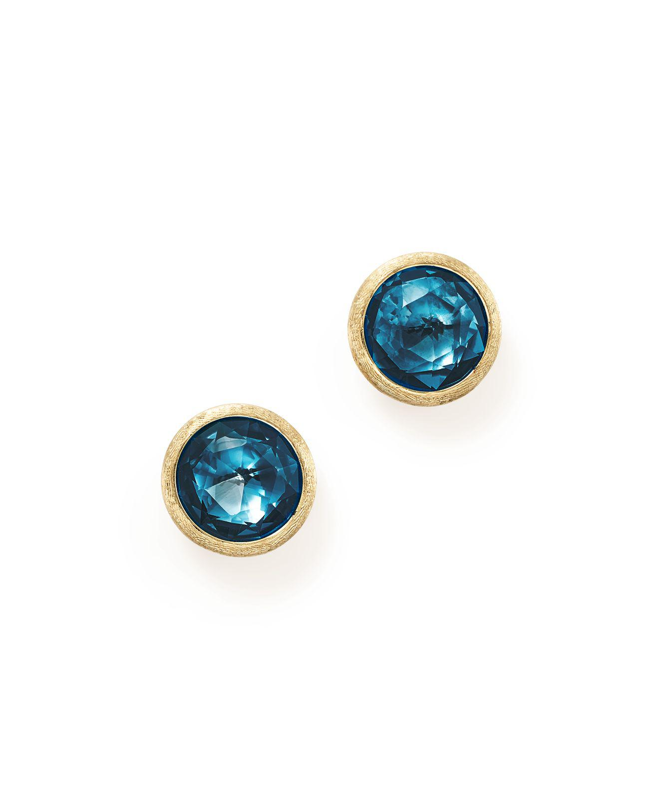 topaz gold stud cz products white prong blue earrings round set zirconia jewelryland com cubic