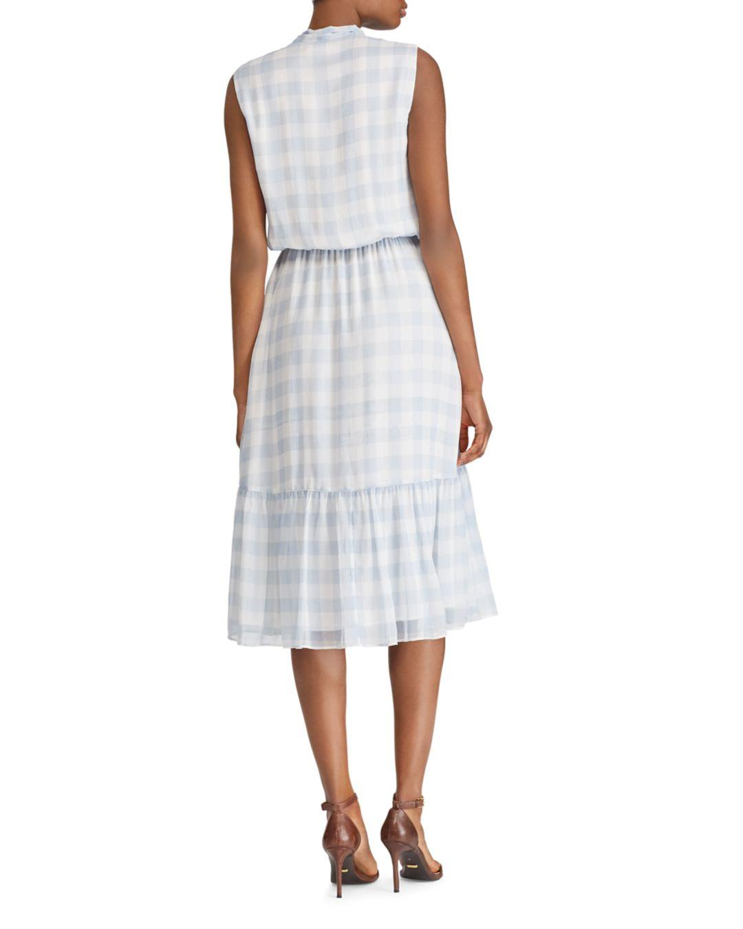 3b6b8fb6 Ralph Lauren - White Lauren Gingham Tie - Neck Dress - Lyst. View fullscreen