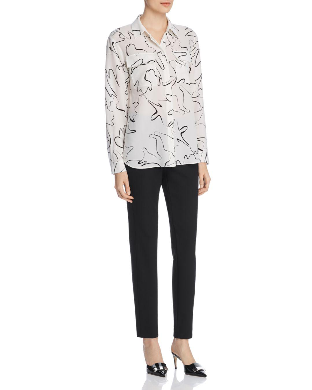 6012fbf05b285 Lyst - Lafayette 148 New York Zora Abstract Print Silk Blouse