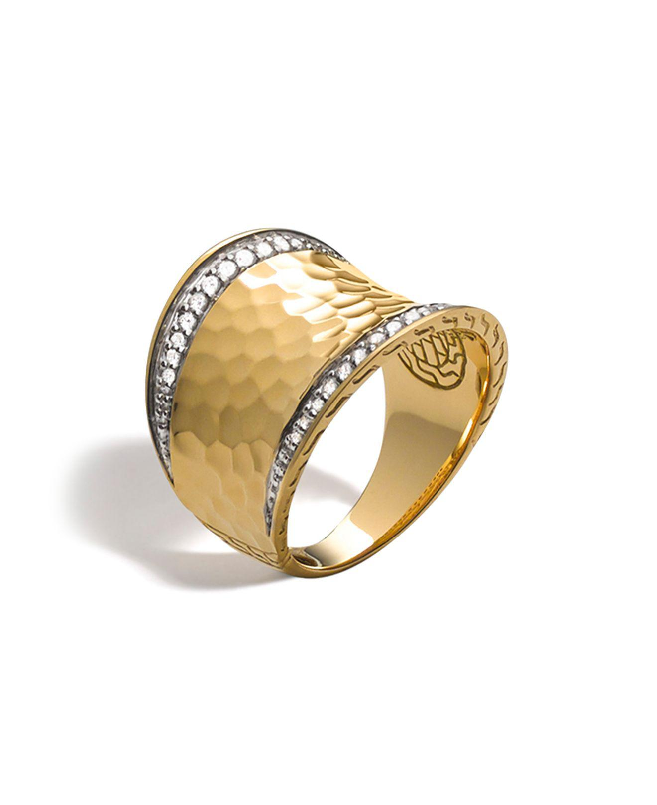 John Hardy Classic Chain Wave Hammered 18K Gold Diamond Bypass Ring, Size 6